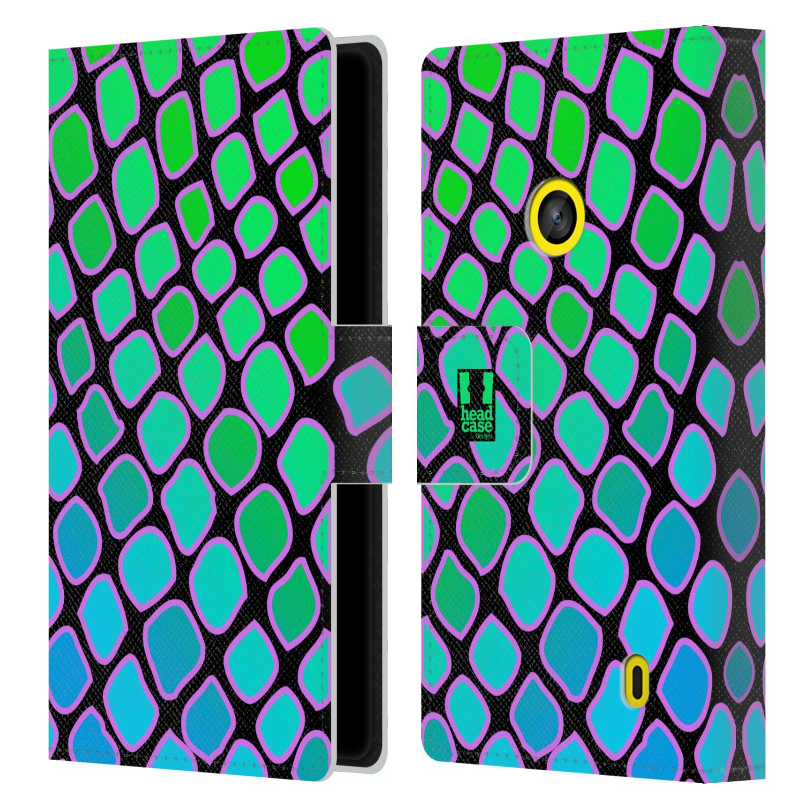 HEAD CASE Flipové pouzdro pro mobil NOKIA LUMIA 520 / 525 Zvířecí barevné vzory vodní had modrá a zelená barva AQUA