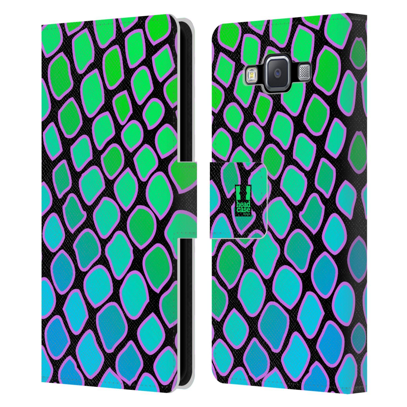 HEAD CASE Flipové pouzdro pro mobil Samsung Galaxy A5 Zvířecí barevné vzory vodní had modrá a zelená barva AQUA