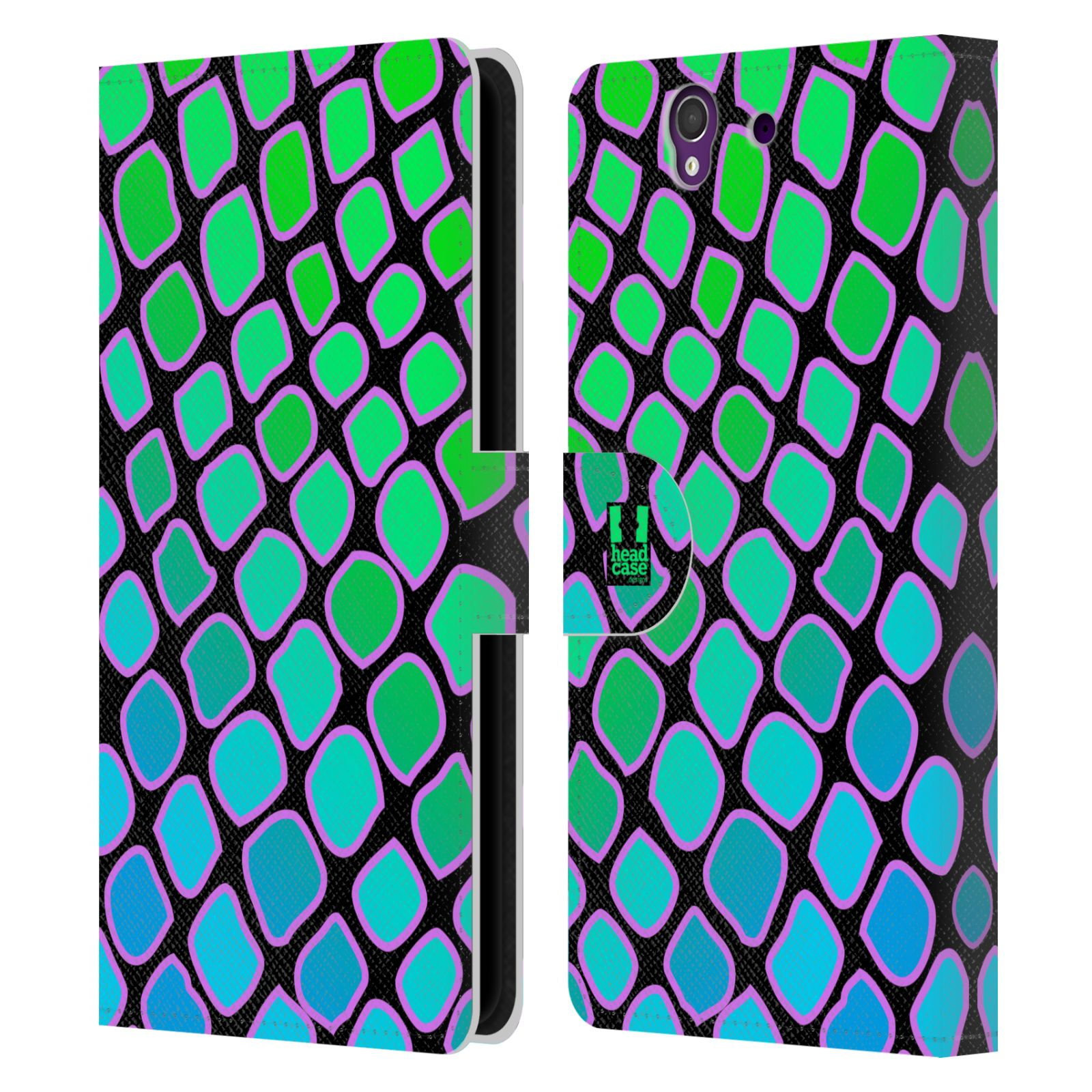 HEAD CASE Flipové pouzdro pro mobil SONY XPERIA Z (C6603) Zvířecí barevné vzory vodní had modrá a zelená barva AQUA