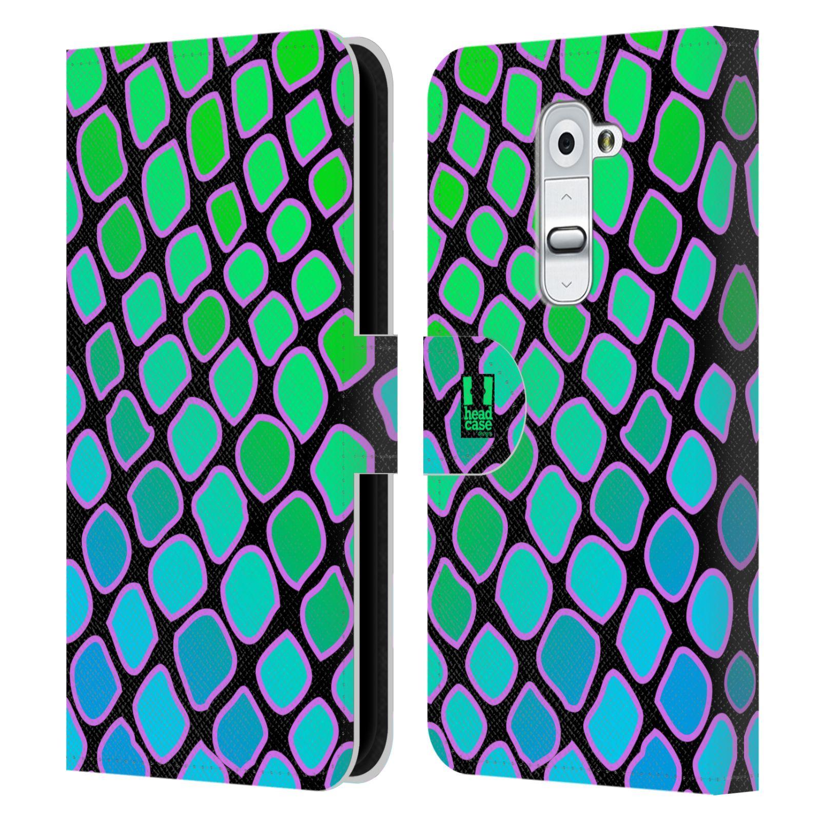 HEAD CASE Flipové pouzdro pro mobil LG G2 (D802) Zvířecí barevné vzory vodní had modrá a zelená barva AQUA