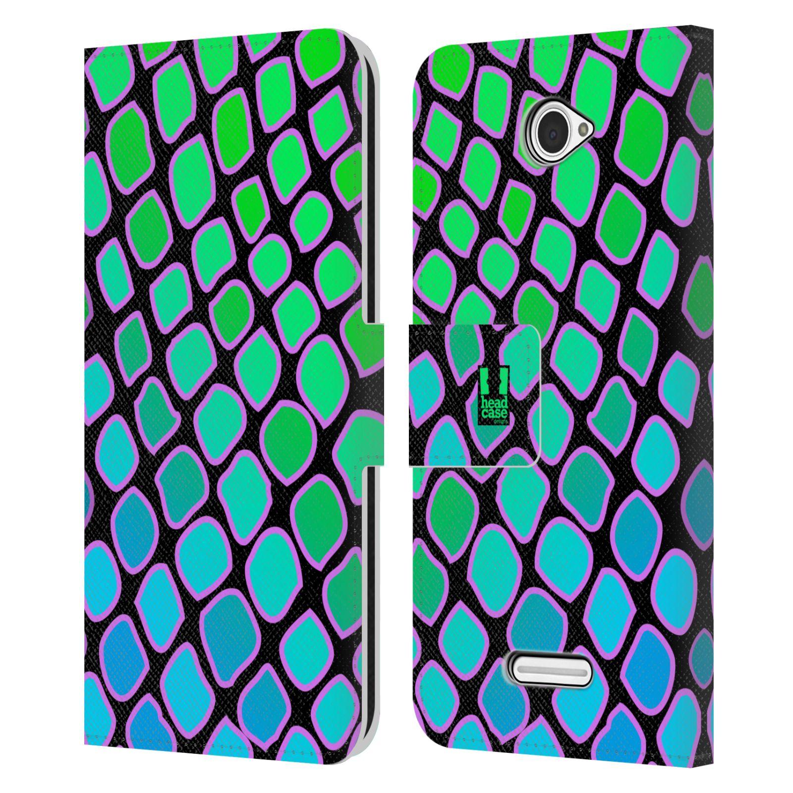 HEAD CASE Flipové pouzdro pro mobil SONY XPERIA E4 Zvířecí barevné vzory vodní had modrá a zelená barva AQUA