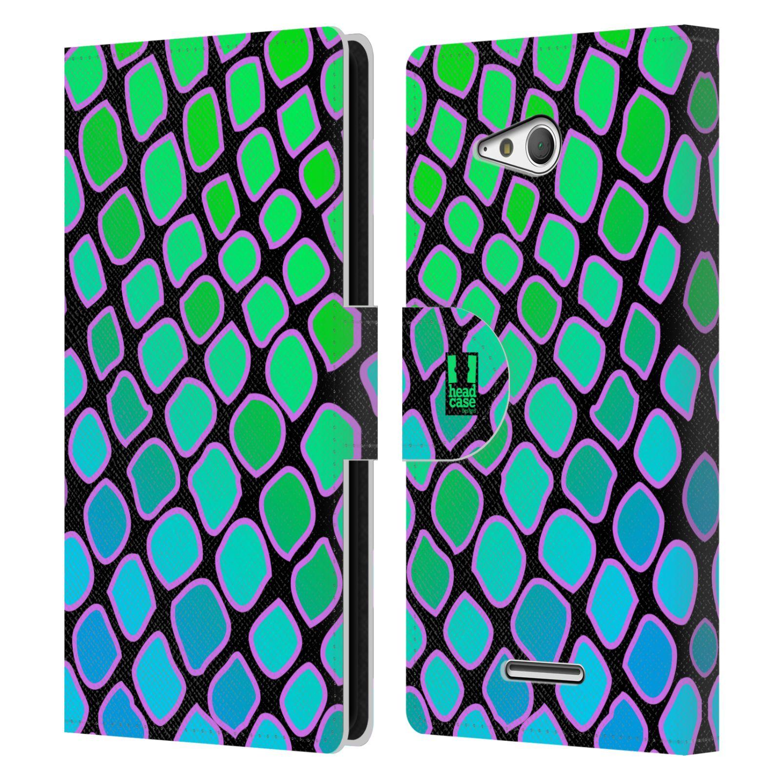 HEAD CASE Flipové pouzdro pro mobil SONY XPERIA E4g Zvířecí barevné vzory vodní had modrá a zelená barva AQUA