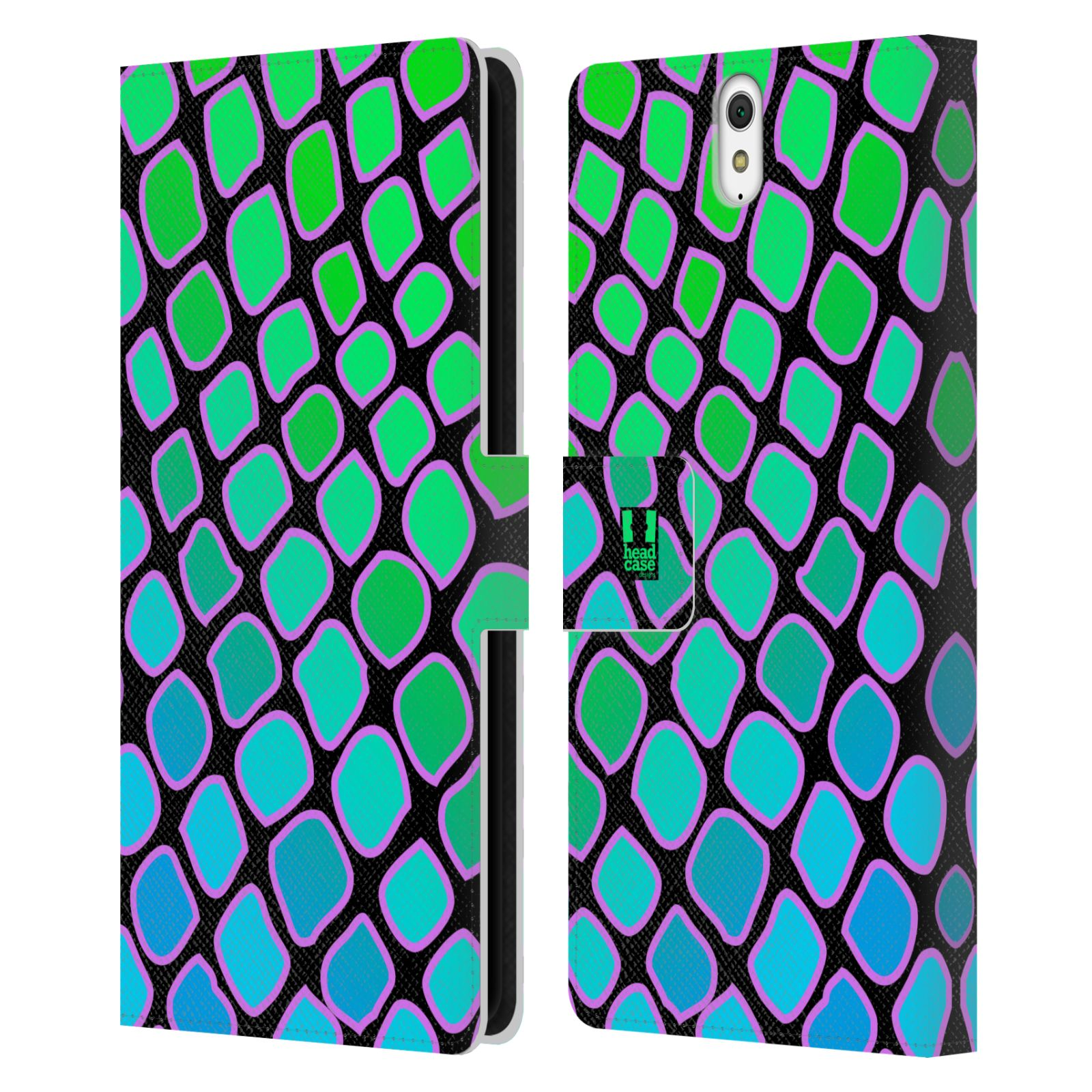 HEAD CASE Flipové pouzdro pro mobil SONY XPERIA C5 Ultra Zvířecí barevné vzory vodní had modrá a zelená barva AQUA