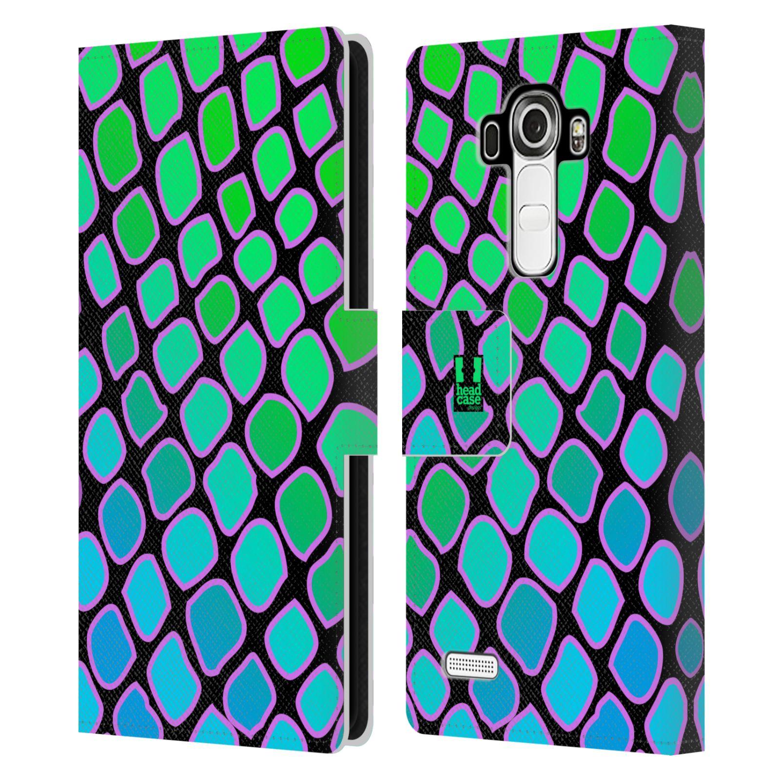 HEAD CASE Flipové pouzdro pro mobil LG G4 (H815) Zvířecí barevné vzory vodní had modrá a zelená barva AQUA