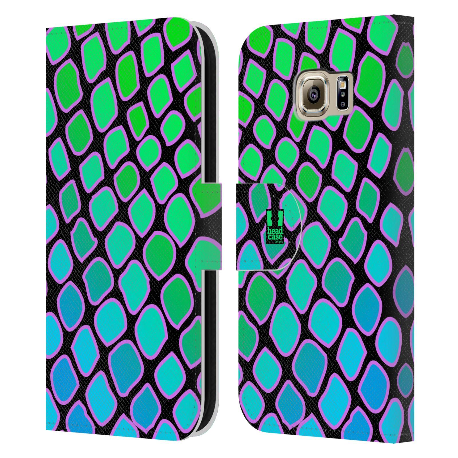HEAD CASE Flipové pouzdro pro mobil Samsung Galaxy S6 (G9200) Zvířecí barevné vzory vodní had modrá a zelená barva AQUA