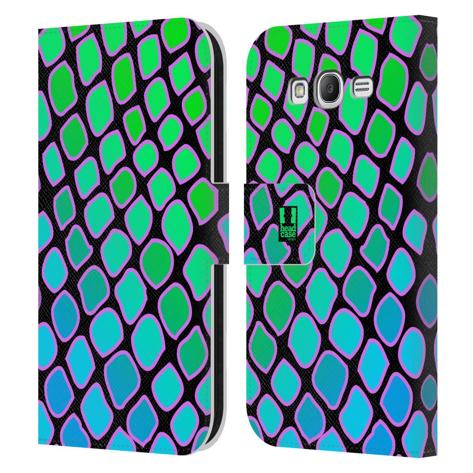 HEAD CASE Flipové pouzdro pro mobil Samsung Galaxy Grand i9080 Zvířecí barevné vzory vodní had modrá a zelená barva AQUA