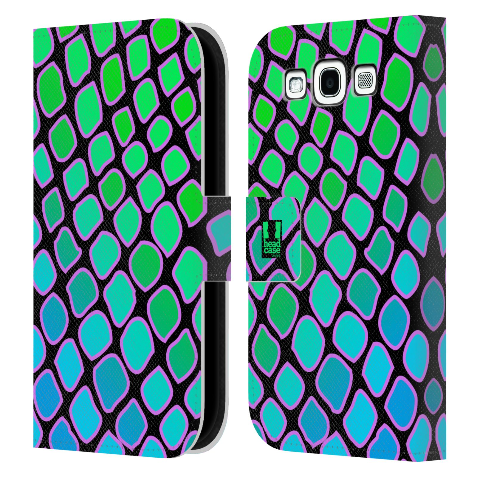 HEAD CASE Flipové pouzdro pro mobil Samsung Galaxy S3 Zvířecí barevné vzory vodní had modrá a zelená barva AQUA