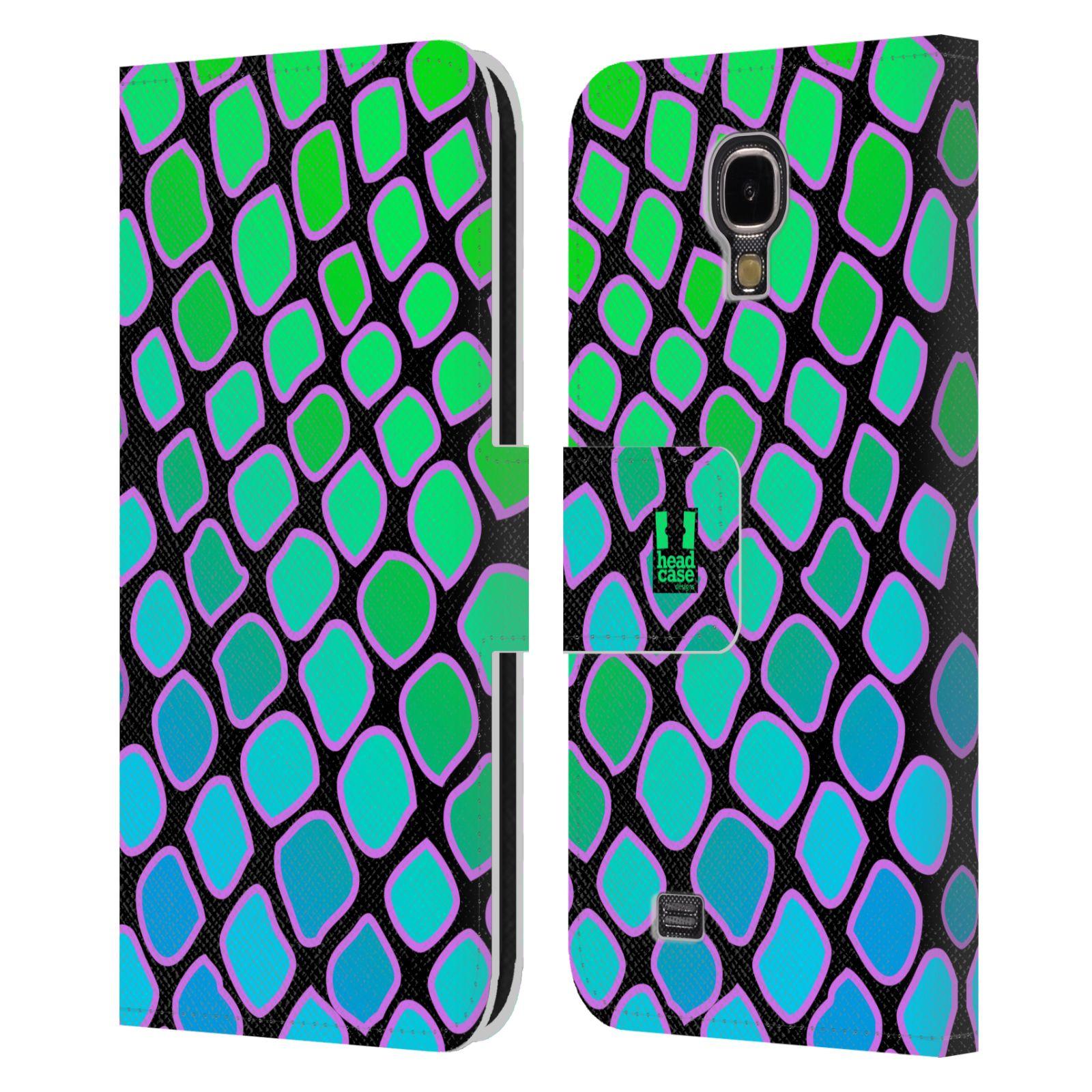 HEAD CASE Flipové pouzdro pro mobil Samsung Galaxy S4 Zvířecí barevné vzory vodní had modrá a zelená barva AQUA