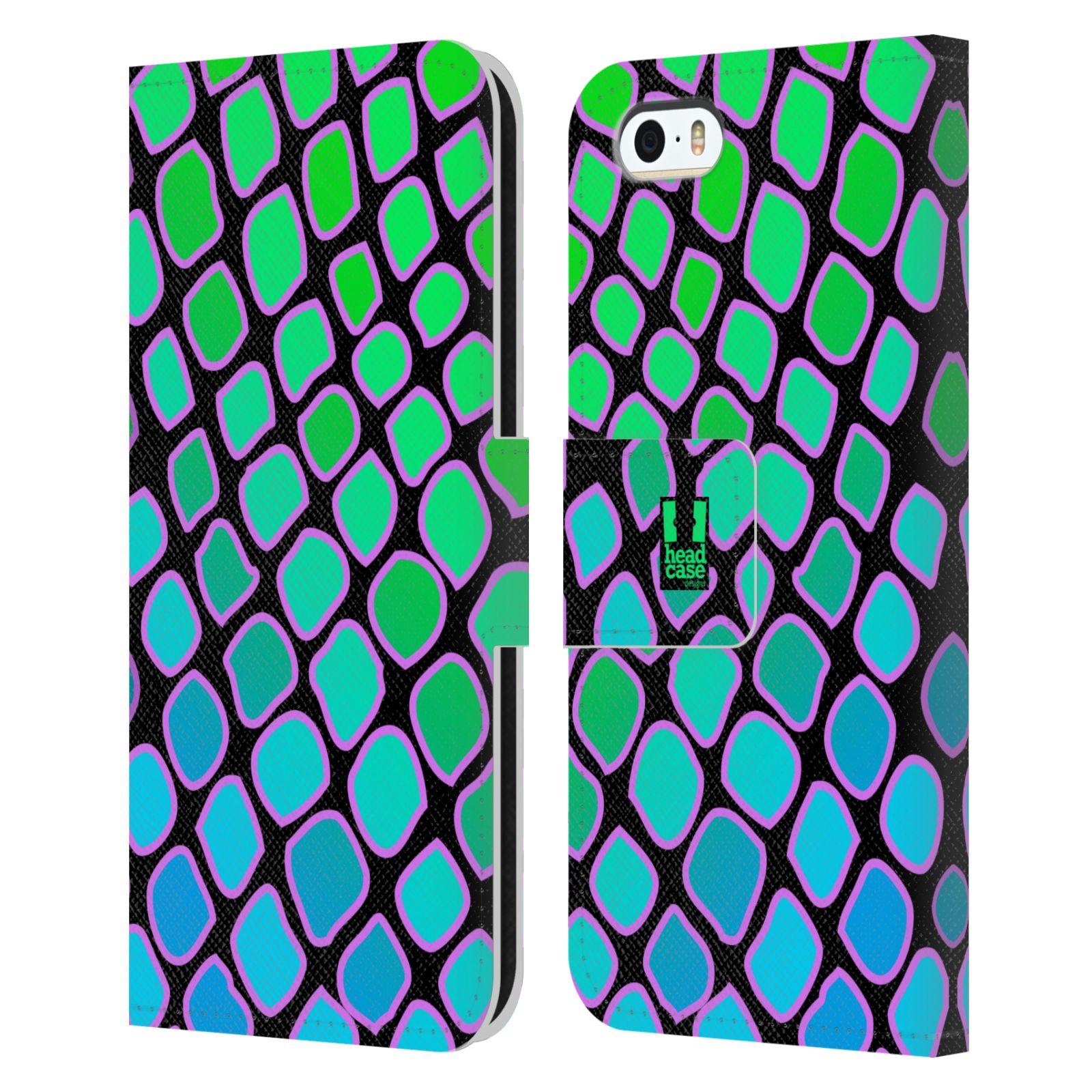 HEAD CASE Flipové pouzdro pro mobil Apple Iphone 5/5s Zvířecí barevné vzory vodní had modrá a zelená barva AQUA
