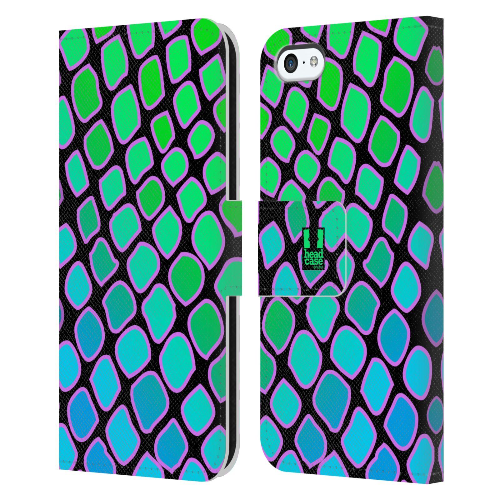 HEAD CASE Flipové pouzdro pro mobil Apple Iphone 5C Zvířecí barevné vzory vodní had modrá a zelená barva AQUA