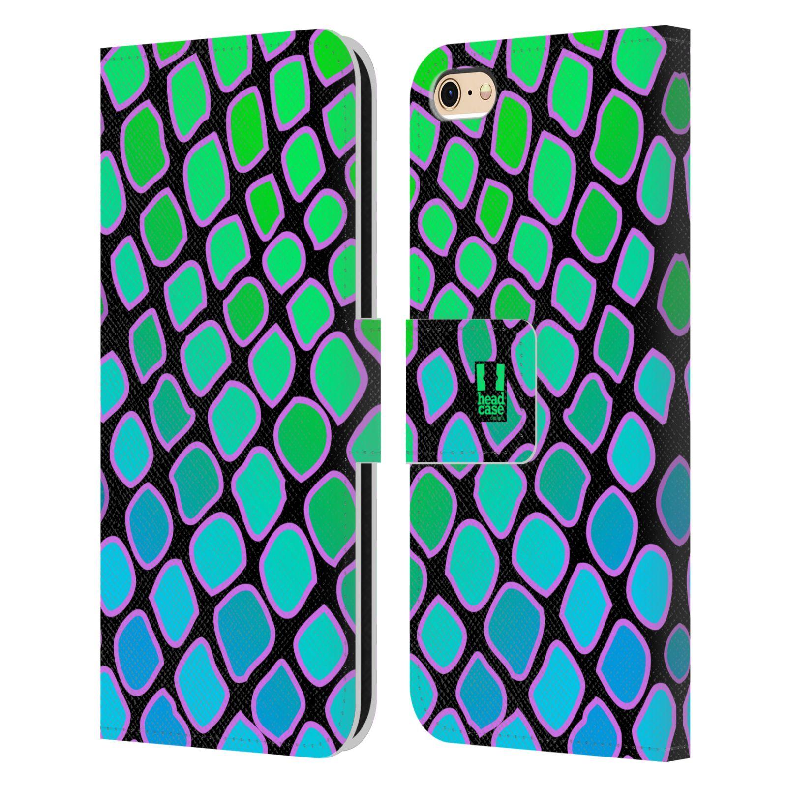 HEAD CASE Flipové pouzdro pro mobil Apple Iphone 6/6s Zvířecí barevné vzory vodní had modrá a zelená barva AQUA