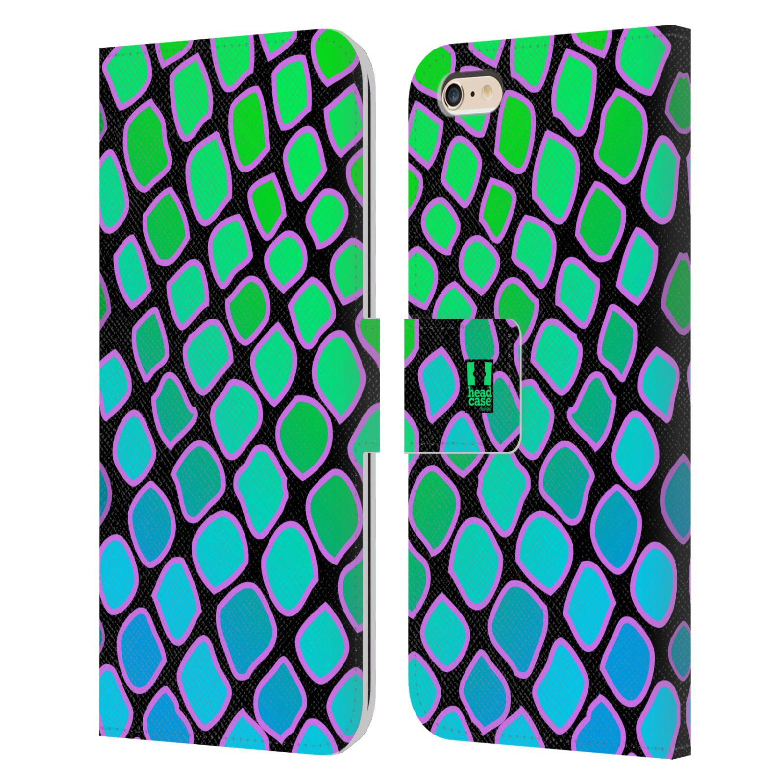 HEAD CASE Flipové pouzdro pro mobil Apple Iphone 6 PLUS / 6S PLUS Zvířecí barevné vzory vodní had modrá a zelená barva AQUA