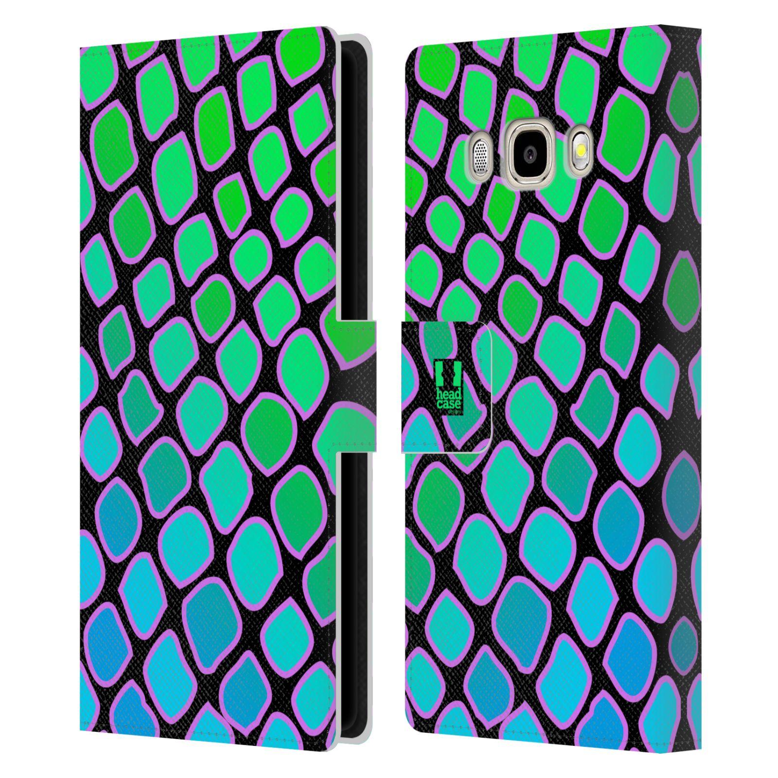 HEAD CASE Flipové pouzdro pro mobil Samsung Galaxy J5 2016 Zvířecí barevné vzory vodní had modrá a zelená barva AQUA