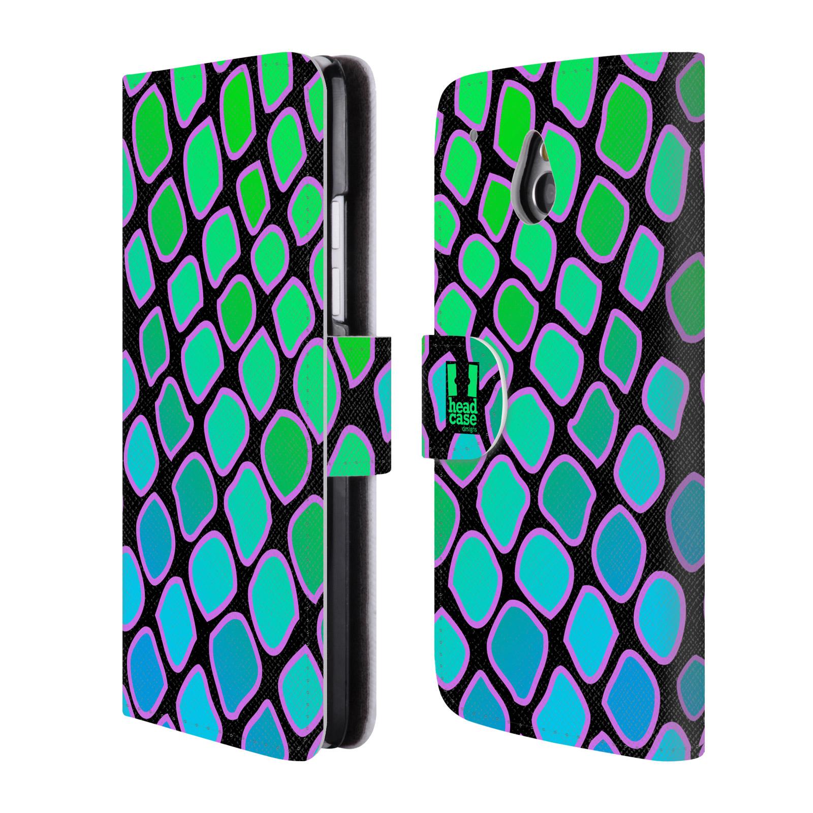 HEAD CASE Flipové pouzdro pro mobil HTC ONE MINI (M4) Zvířecí barevné vzory vodní had modrá a zelená barva AQUA