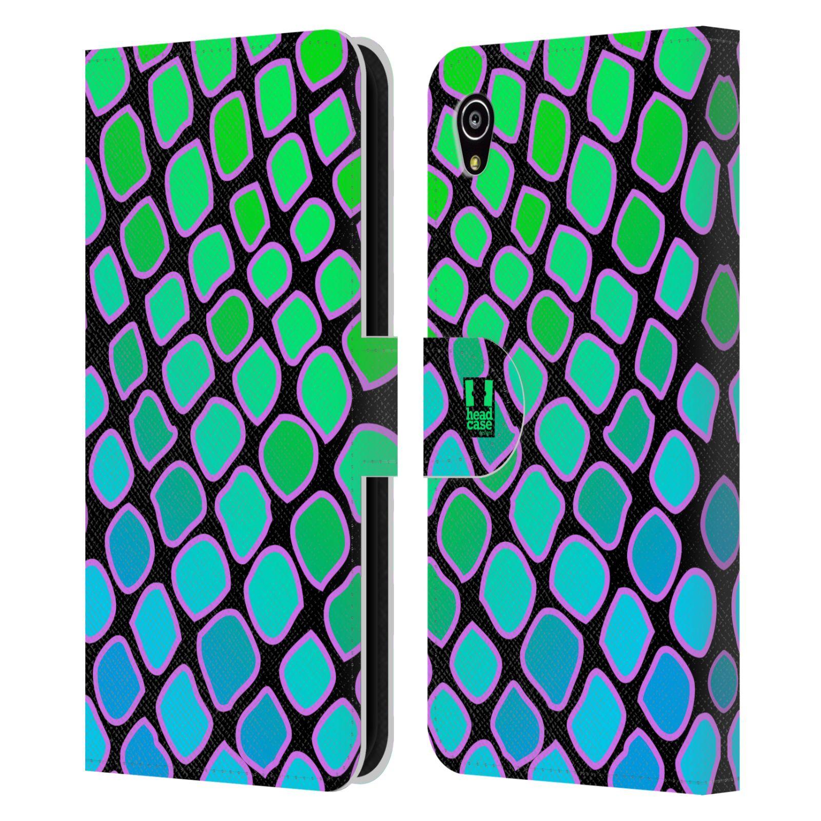 HEAD CASE Flipové pouzdro pro mobil SONY XPERIA M4 AQUA Zvířecí barevné vzory vodní had modrá a zelená barva AQUA