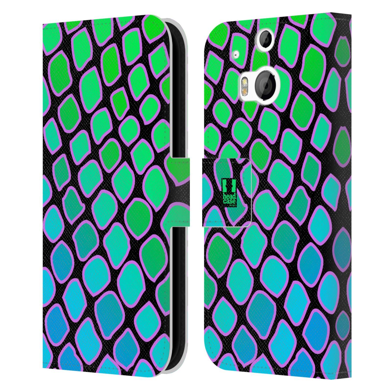 HEAD CASE Flipové pouzdro pro mobil HTC ONE (M8, M8s) Zvířecí barevné vzory vodní had modrá a zelená barva AQUA