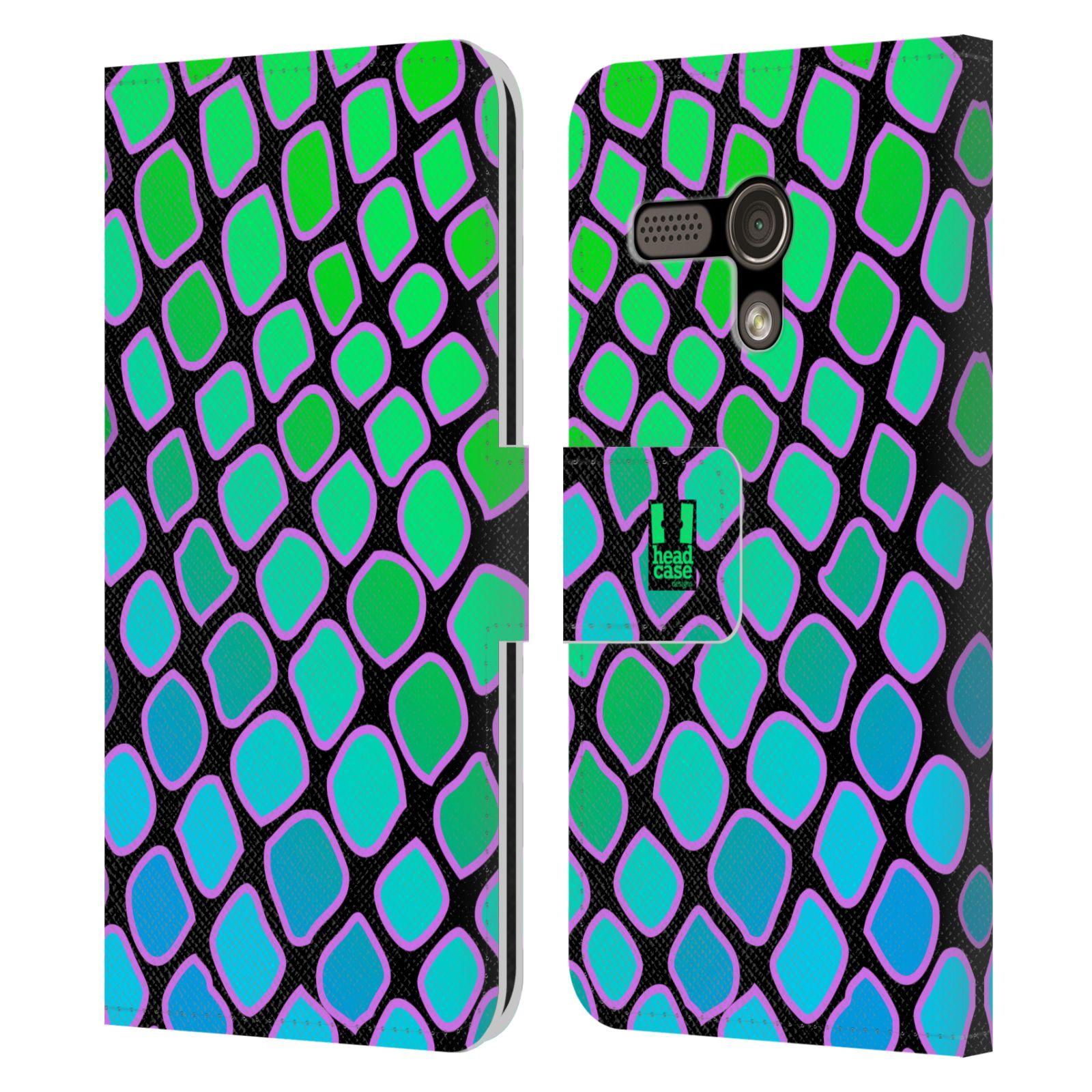 HEAD CASE Flipové pouzdro pro mobil MOTOROLA MOTO G Zvířecí barevné vzory vodní had modrá a zelená barva AQUA