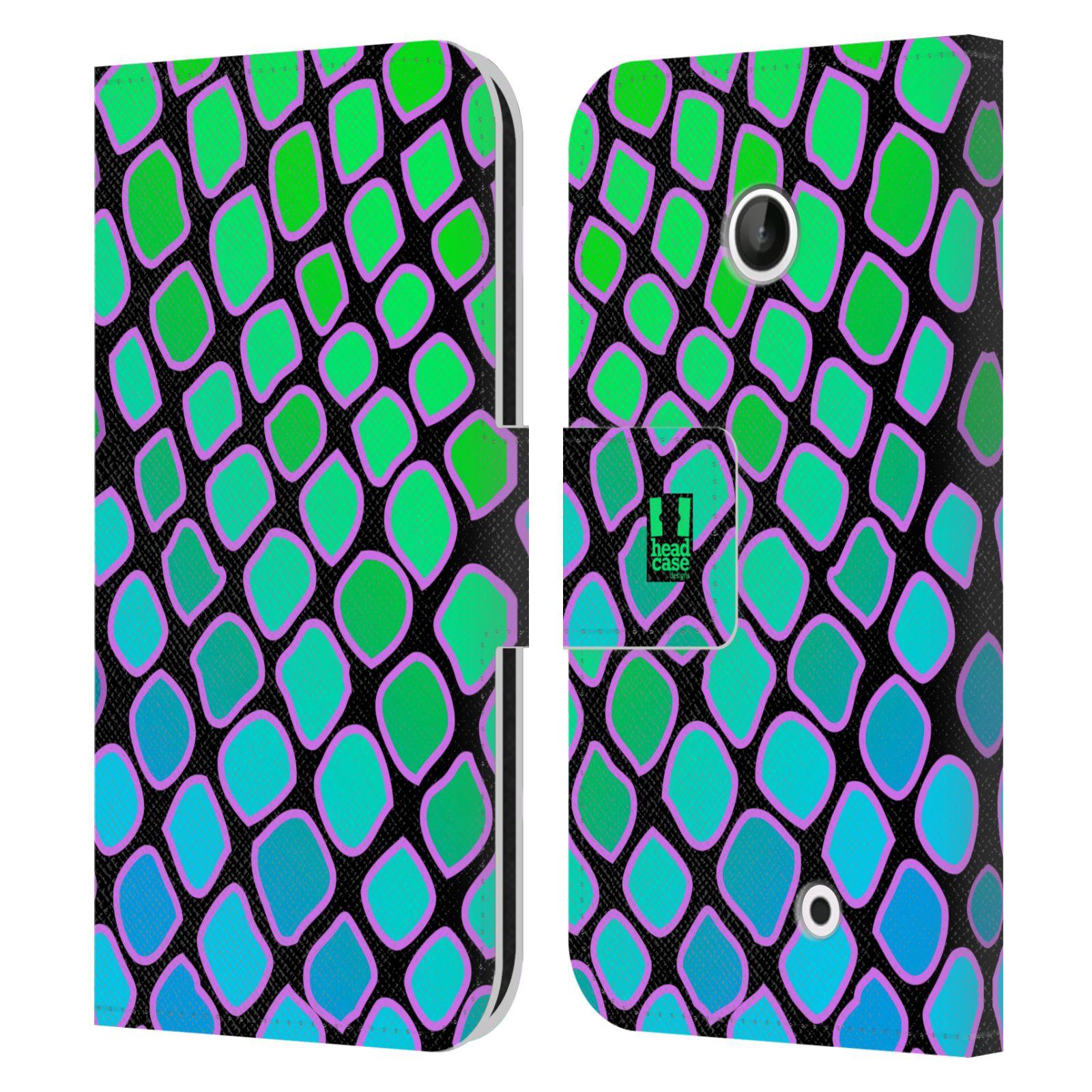 HEAD CASE Flipové pouzdro pro mobil NOKIA LUMIA 630 / LUMIA 630 DUAL Zvířecí barevné vzory vodní had modrá a zelená barva AQUA
