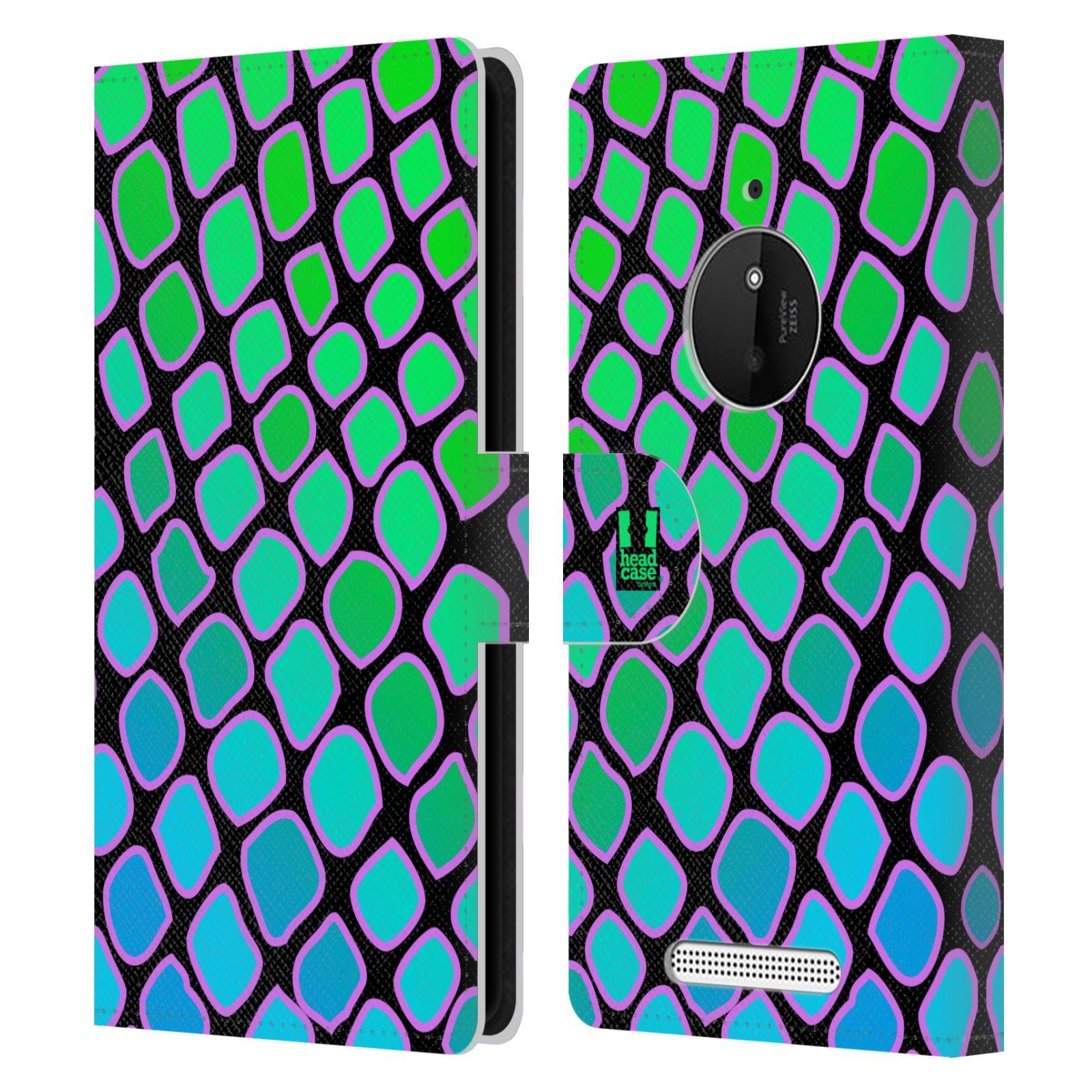 HEAD CASE Flipové pouzdro pro mobil NOKIA LUMIA 830 Zvířecí barevné vzory vodní had modrá a zelená barva AQUA