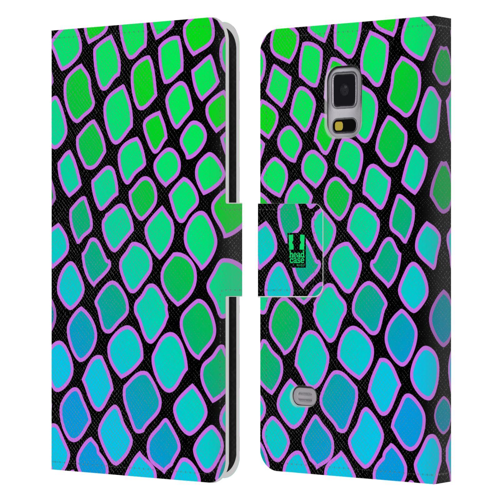 HEAD CASE Flipové pouzdro pro mobil Samsung Galaxy Note 4 Zvířecí barevné vzory vodní had modrá a zelená barva AQUA
