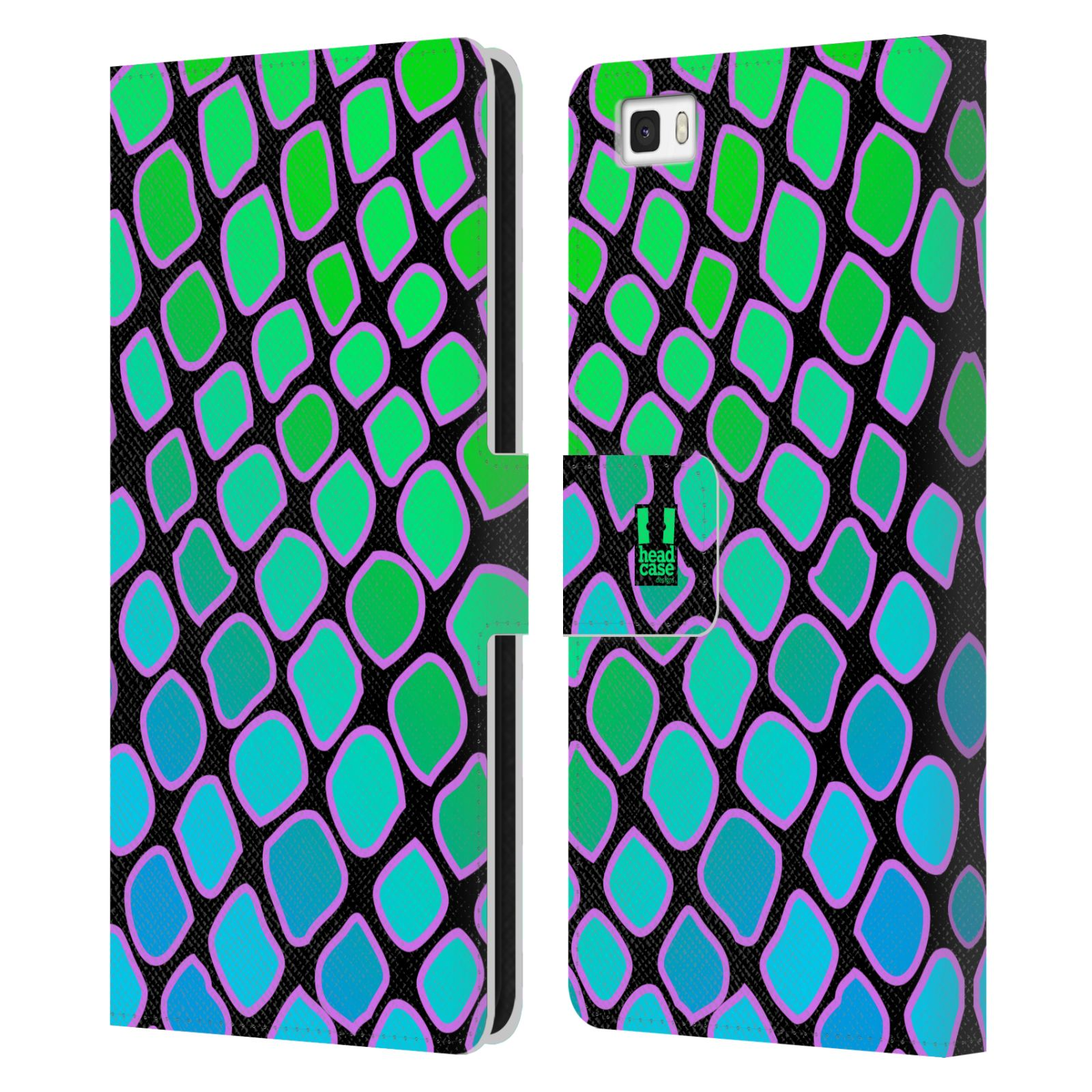 HEAD CASE Flipové pouzdro pro mobil Huawei P8 LITE Zvířecí barevné vzory vodní had modrá a zelená barva AQUA