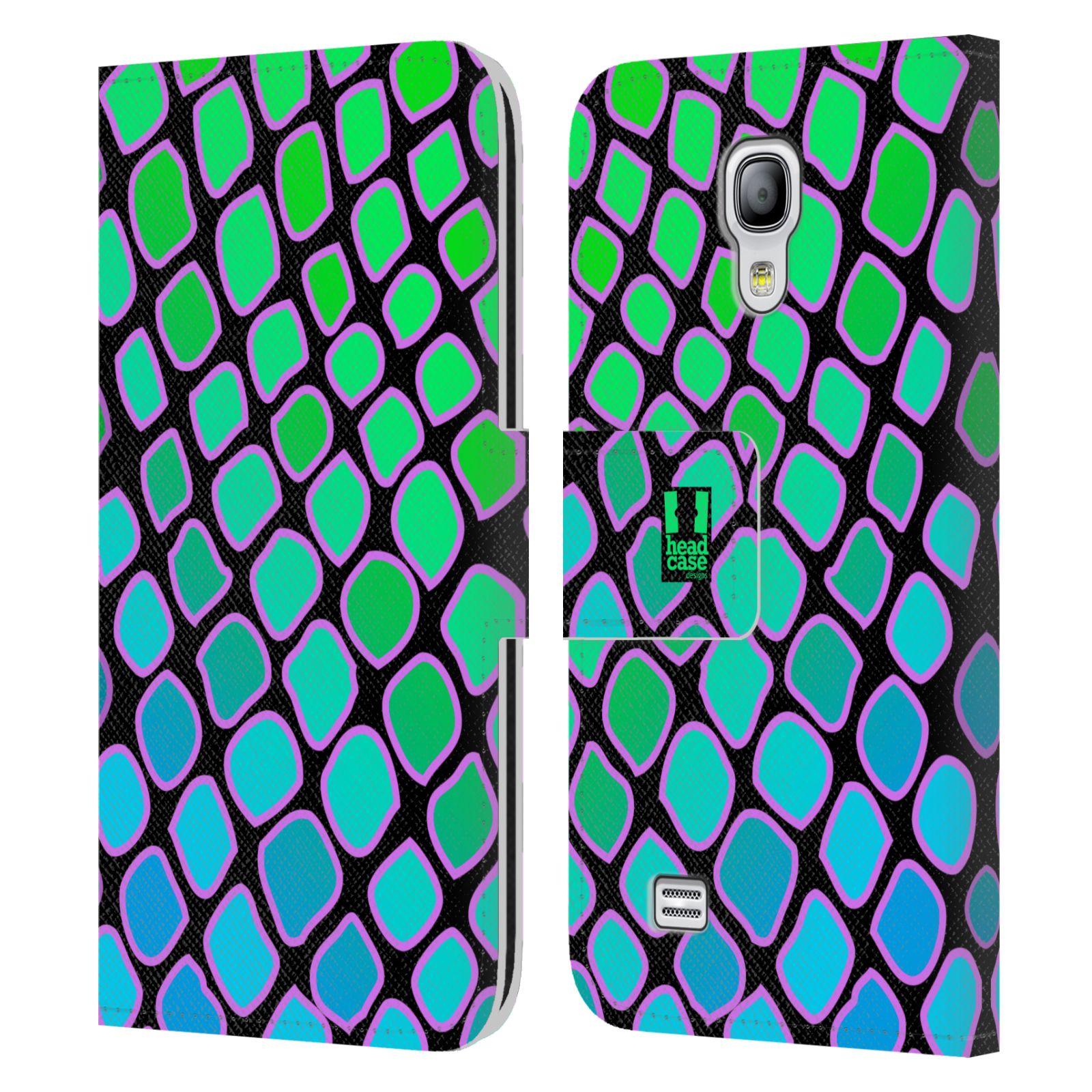 HEAD CASE Flipové pouzdro pro mobil Samsung Galaxy S4 MINI / S4 MINI DUOS Zvířecí barevné vzory vodní had modrá a zelená barva AQUA