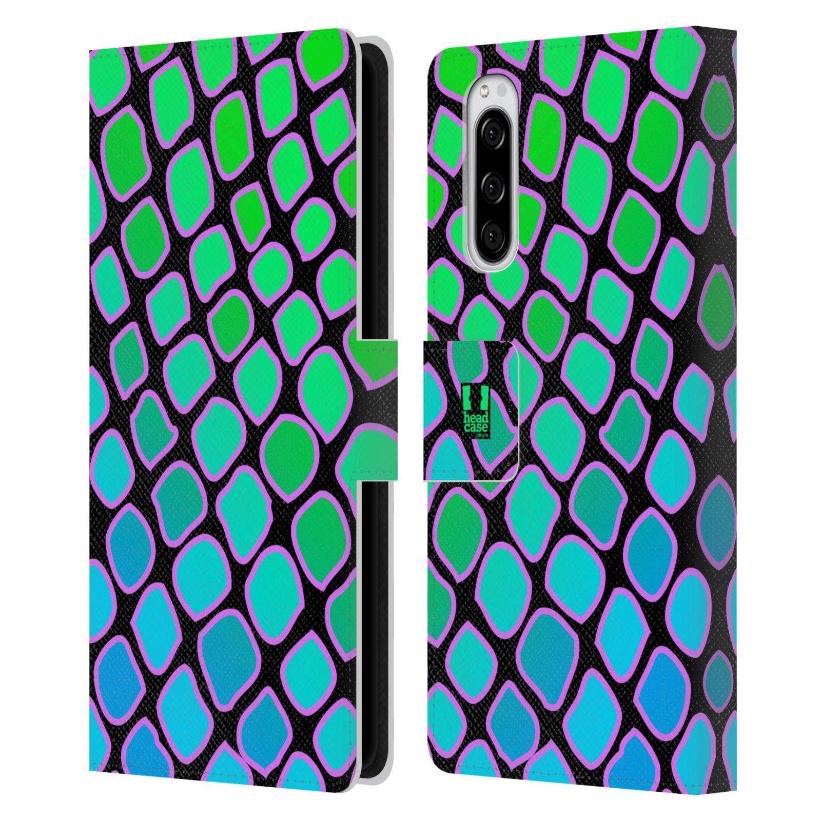 Pouzdro na mobil Sony Xperia 5 Zvířecí barevné vzory vodní had modrá a zelená barva AQUA