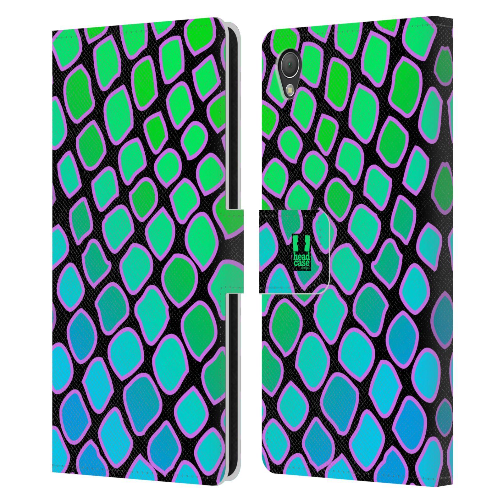 HEAD CASE Flipové pouzdro pro mobil SONY XPERIA Z3 Zvířecí barevné vzory vodní had modrá a zelená barva AQUA
