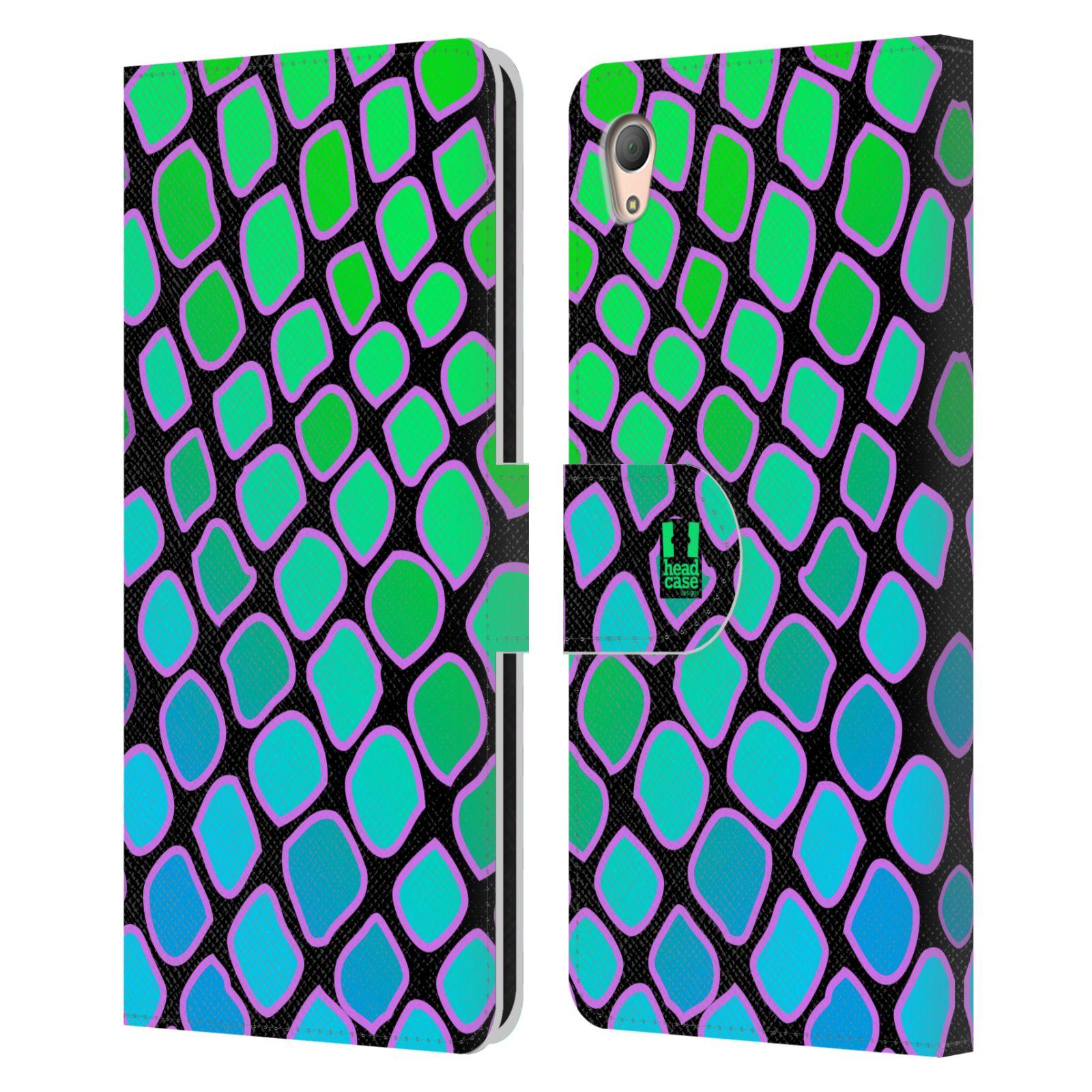 HEAD CASE Flipové pouzdro pro mobil SONY XPERIA Z3+ (PLUS) Zvířecí barevné vzory vodní had modrá a zelená barva AQUA