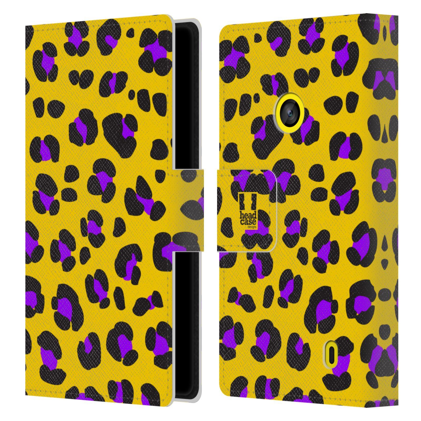 HEAD CASE Flipové pouzdro pro mobil NOKIA LUMIA 520 / 525 Zvířecí barevné vzory žlutý leopard fialové skvrny