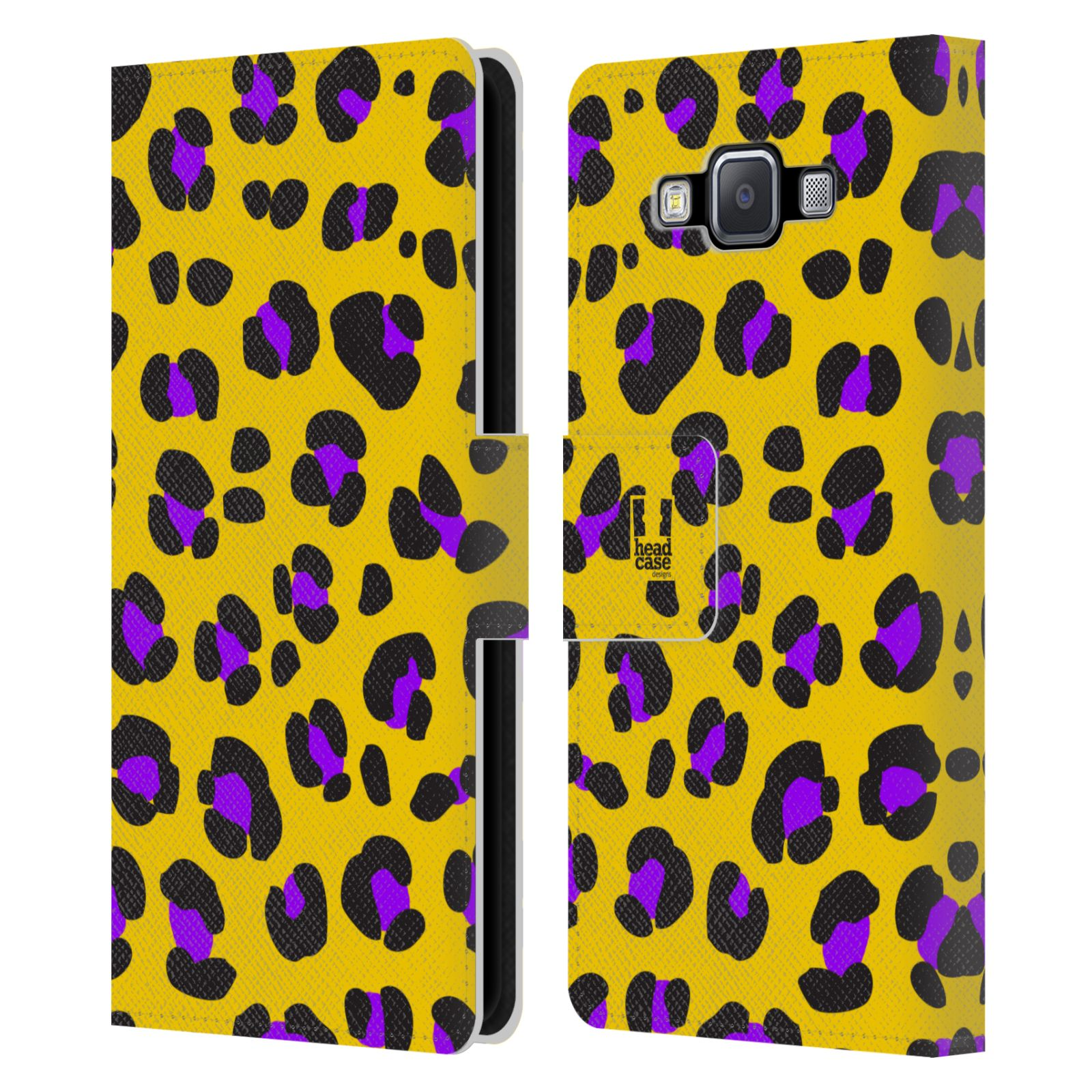 HEAD CASE Flipové pouzdro pro mobil Samsung Galaxy A5 Zvířecí barevné vzory žlutý leopard fialové skvrny