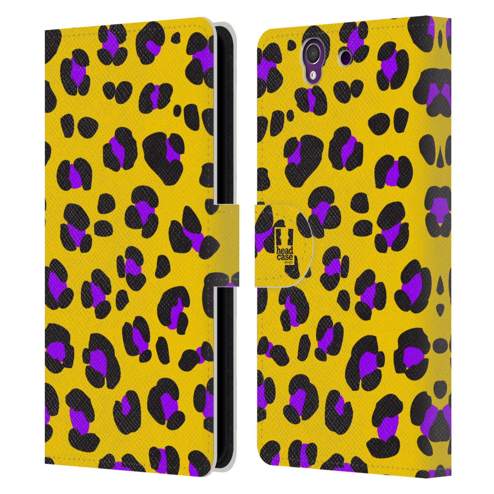 HEAD CASE Flipové pouzdro pro mobil SONY XPERIA Z (C6603) Zvířecí barevné vzory žlutý leopard fialové skvrny