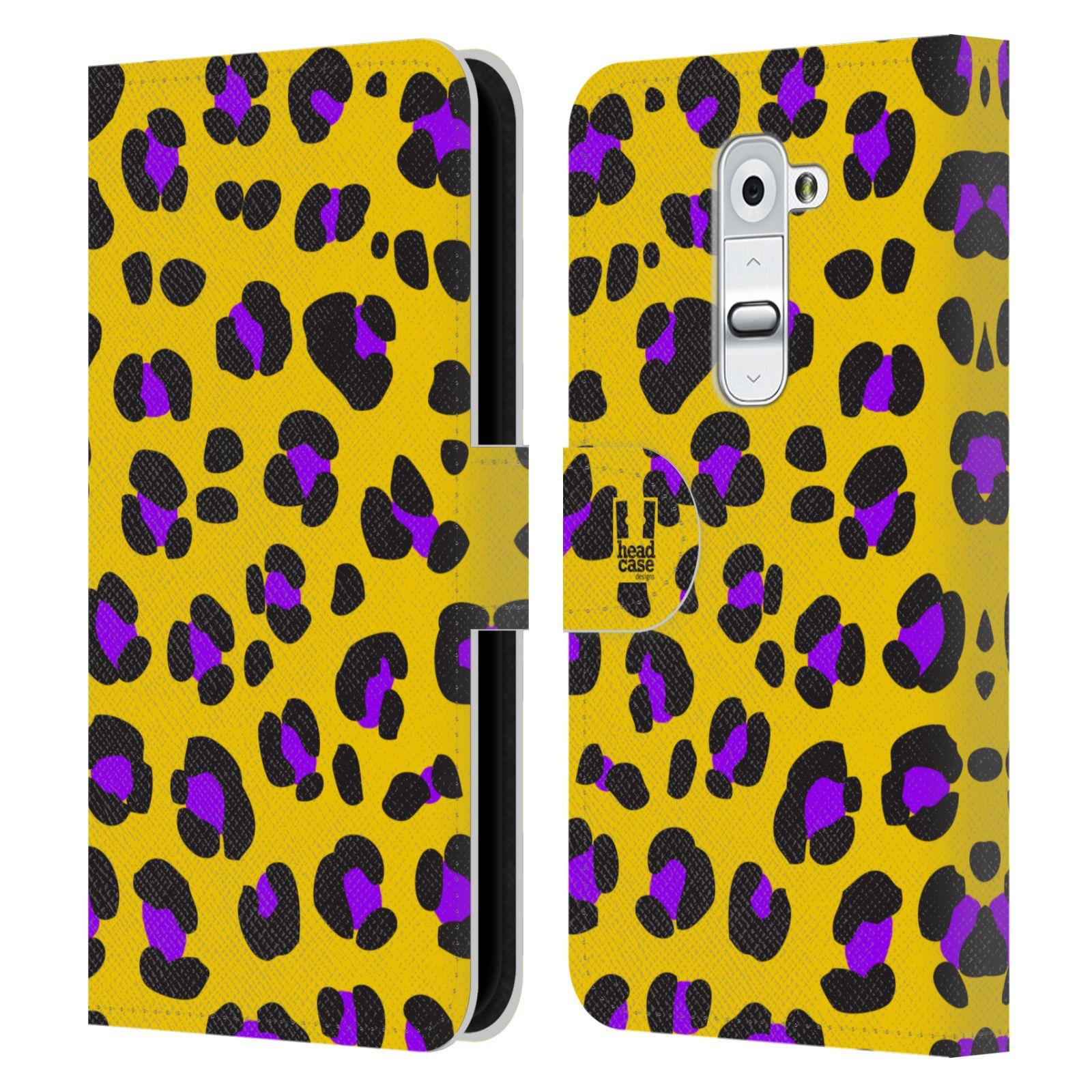 HEAD CASE Flipové pouzdro pro mobil LG G2 (D802) Zvířecí barevné vzory žlutý leopard fialové skvrny