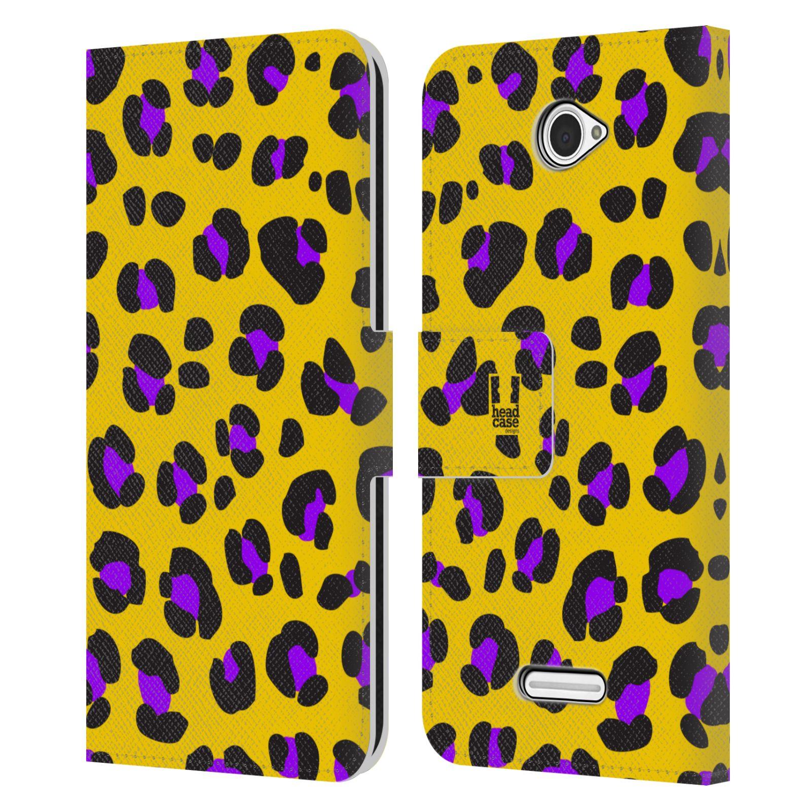 HEAD CASE Flipové pouzdro pro mobil SONY XPERIA E4 Zvířecí barevné vzory žlutý leopard fialové skvrny