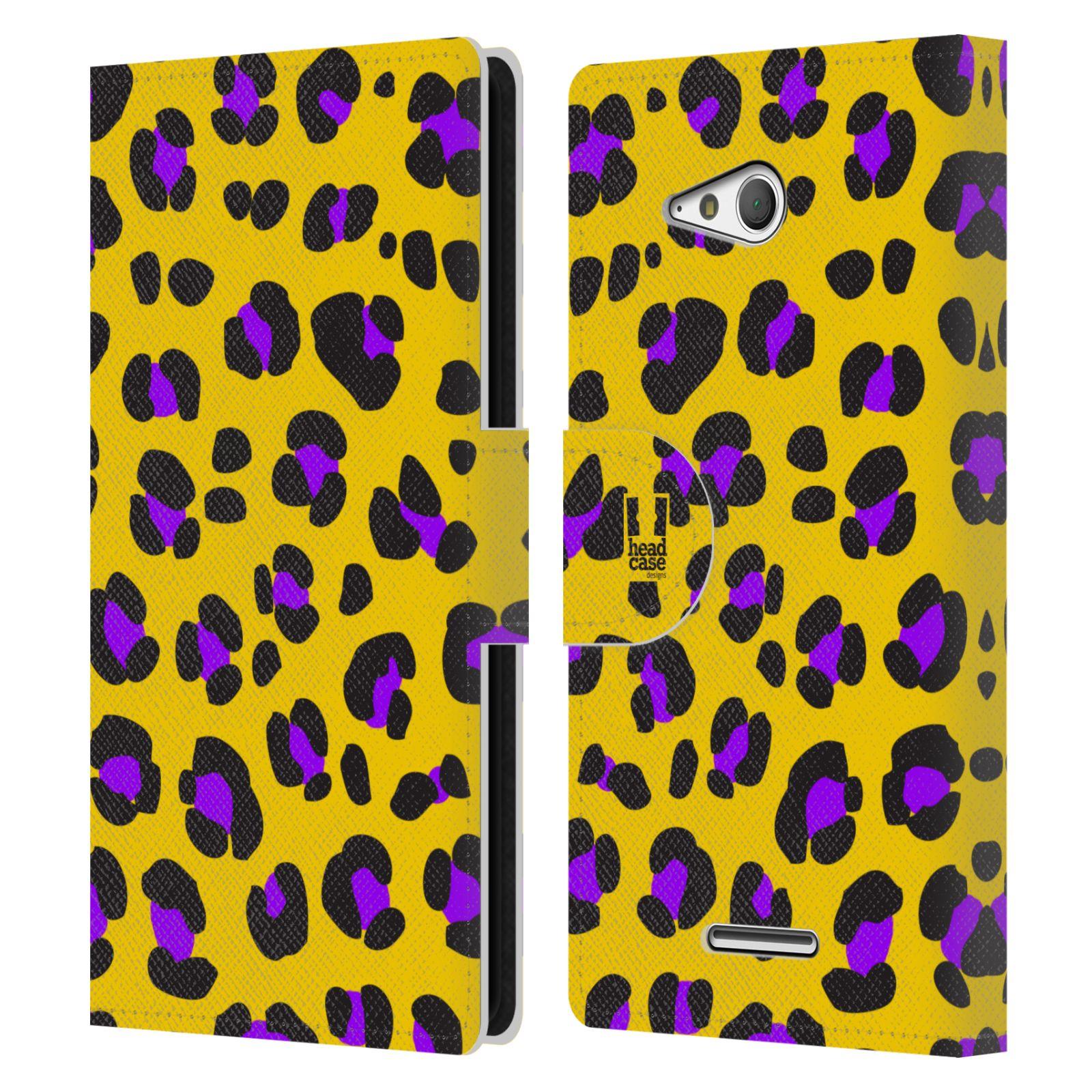 HEAD CASE Flipové pouzdro pro mobil SONY XPERIA E4g Zvířecí barevné vzory žlutý leopard fialové skvrny