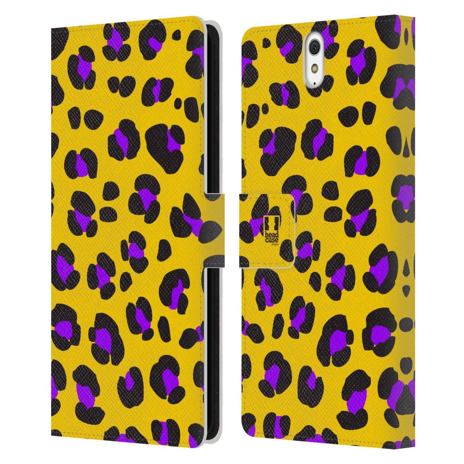 HEAD CASE Flipové pouzdro pro mobil SONY XPERIA C5 Ultra Zvířecí barevné vzory žlutý leopard fialové skvrny