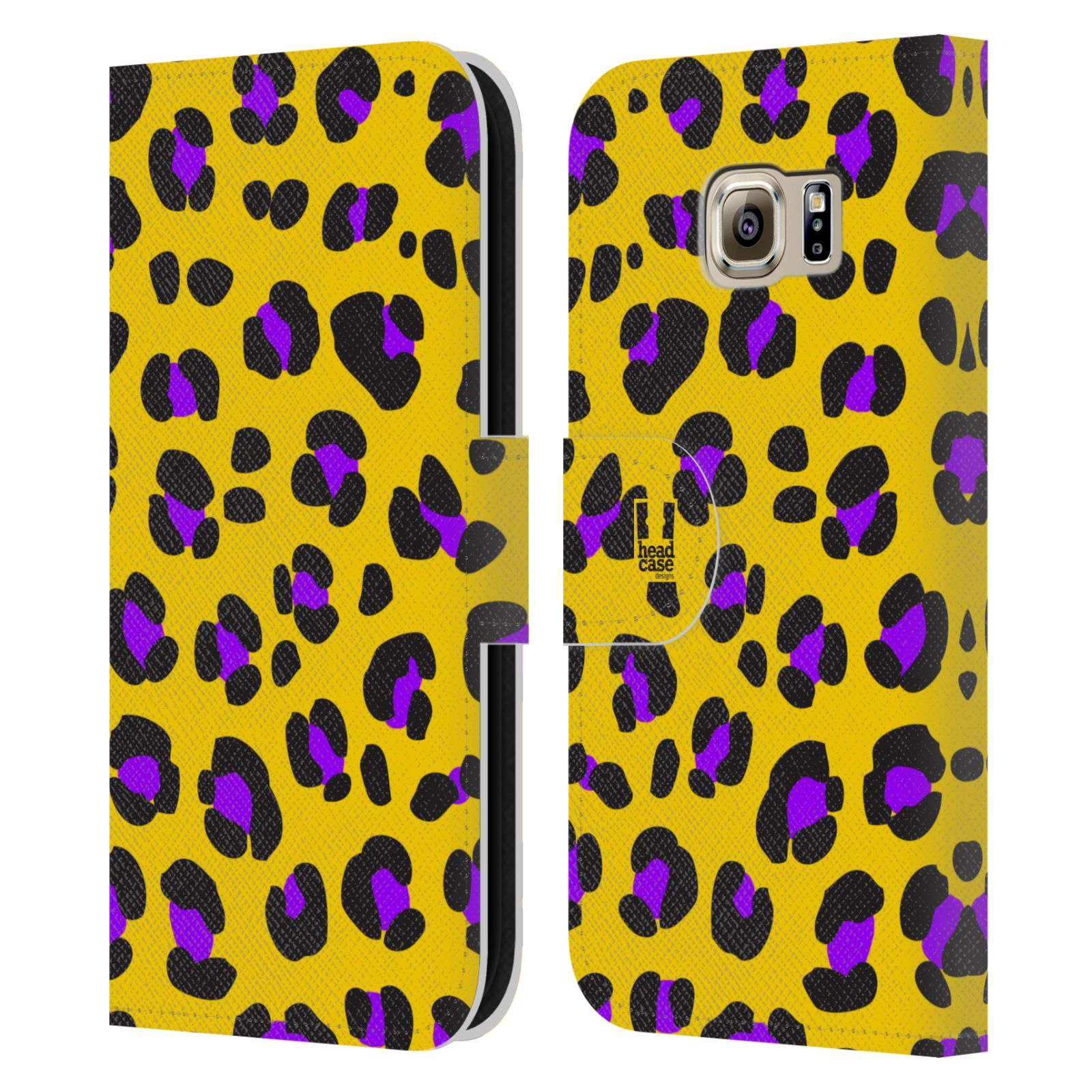 HEAD CASE Flipové pouzdro pro mobil Samsung Galaxy S6 (G9200) Zvířecí barevné vzory žlutý leopard fialové skvrny