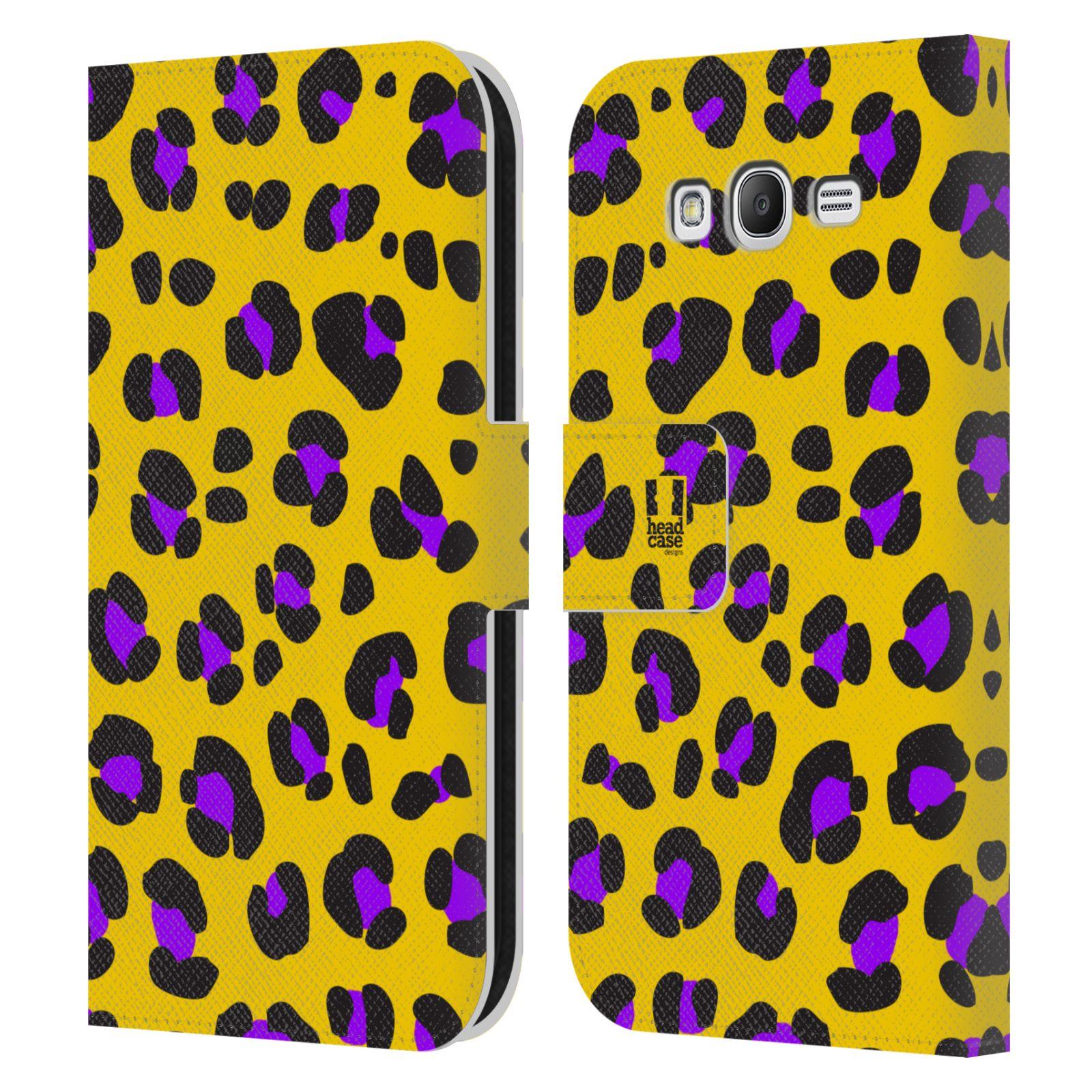 HEAD CASE Flipové pouzdro pro mobil Samsung Galaxy Grand i9080 Zvířecí barevné vzory žlutý leopard fialové skvrny
