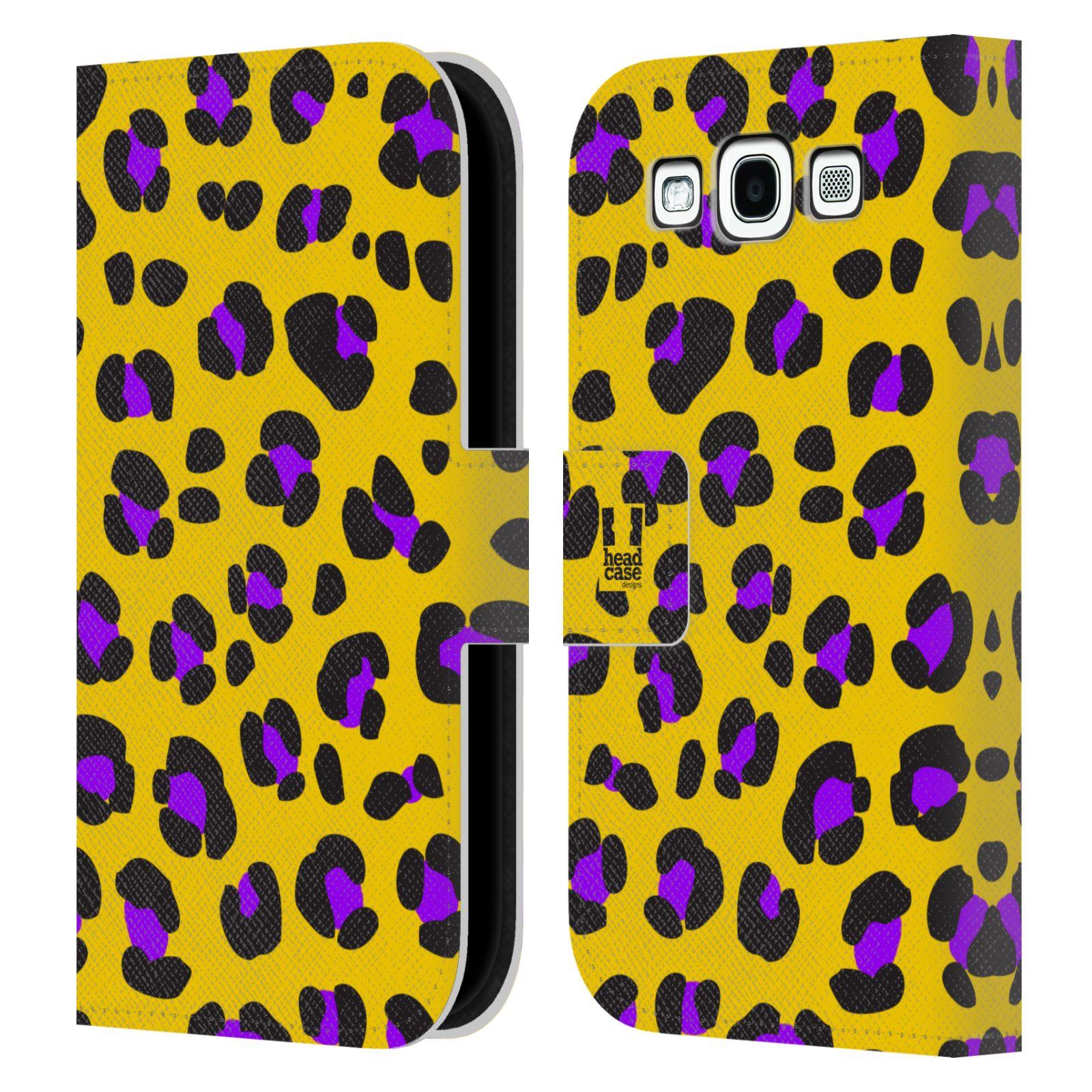 HEAD CASE Flipové pouzdro pro mobil Samsung Galaxy S3 Zvířecí barevné vzory žlutý leopard fialové skvrny