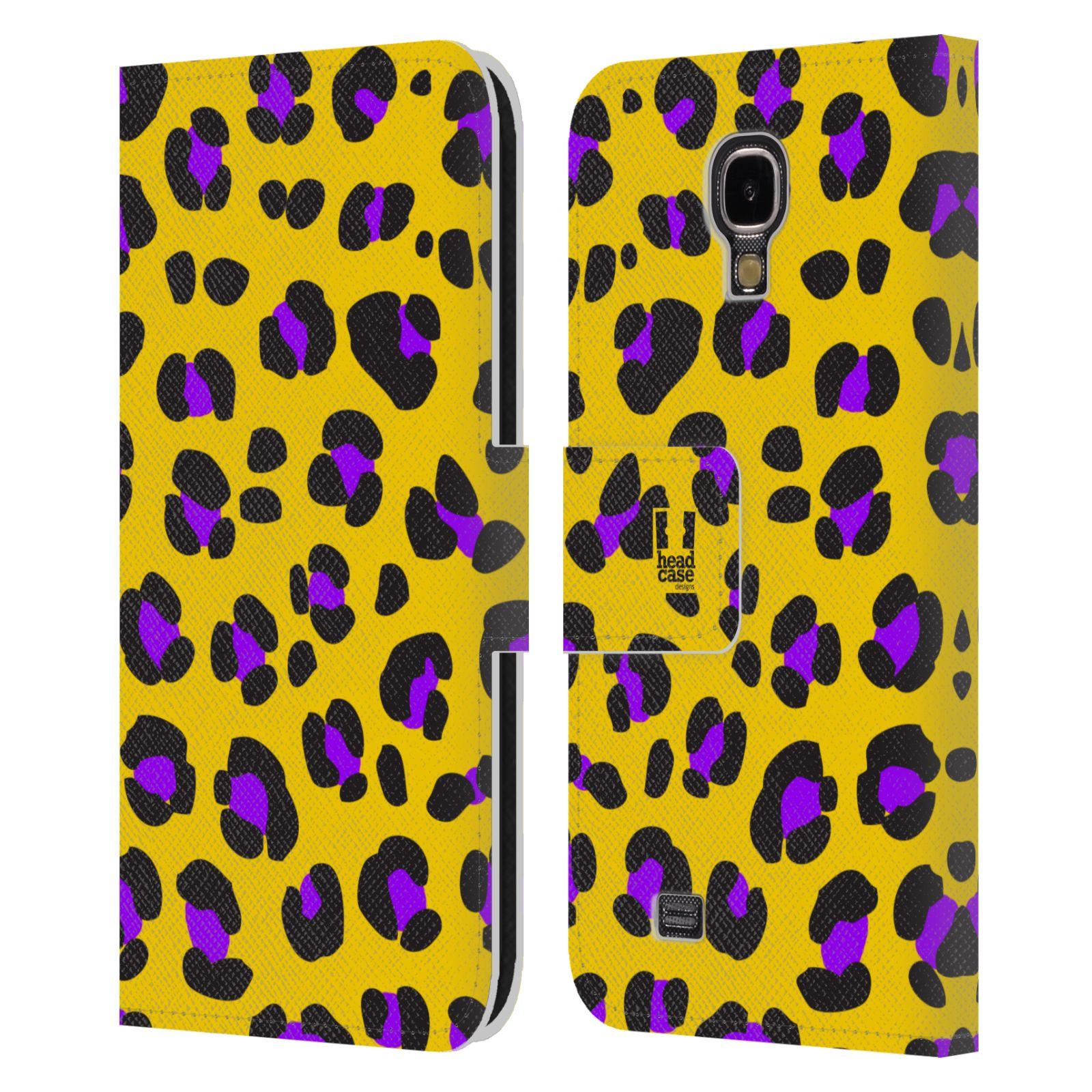 HEAD CASE Flipové pouzdro pro mobil Samsung Galaxy S4 Zvířecí barevné vzory žlutý leopard fialové skvrny