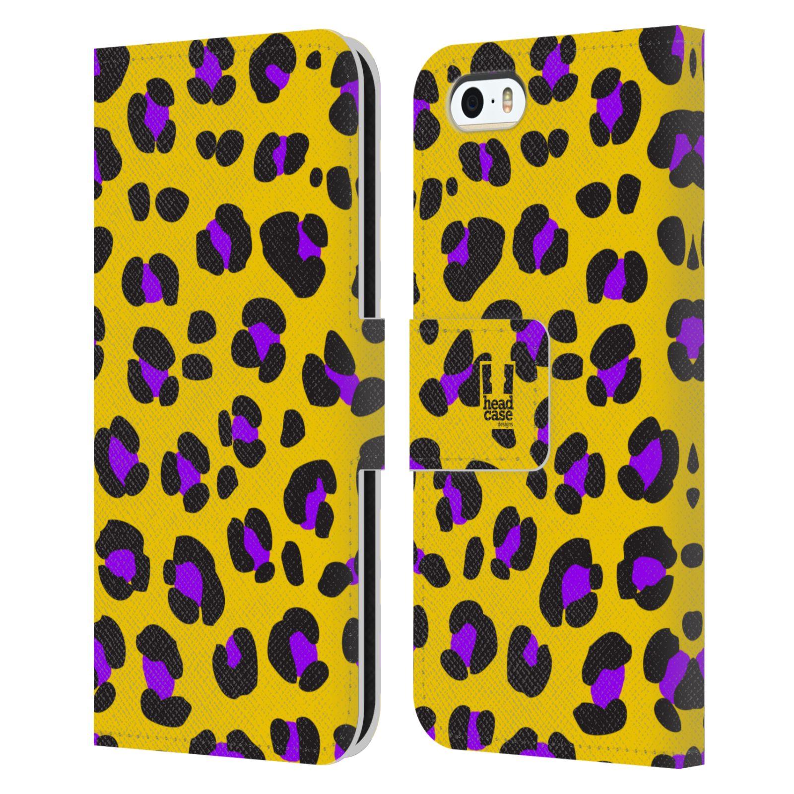 HEAD CASE Flipové pouzdro pro mobil Apple Iphone 5/5s Zvířecí barevné vzory žlutý leopard fialové skvrny