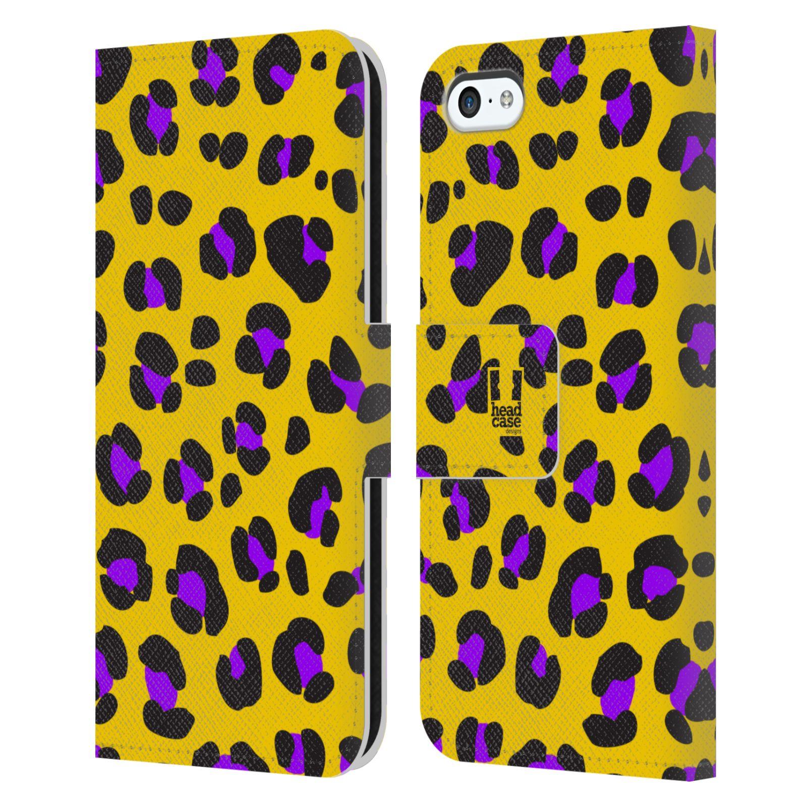HEAD CASE Flipové pouzdro pro mobil Apple Iphone 5C Zvířecí barevné vzory žlutý leopard fialové skvrny