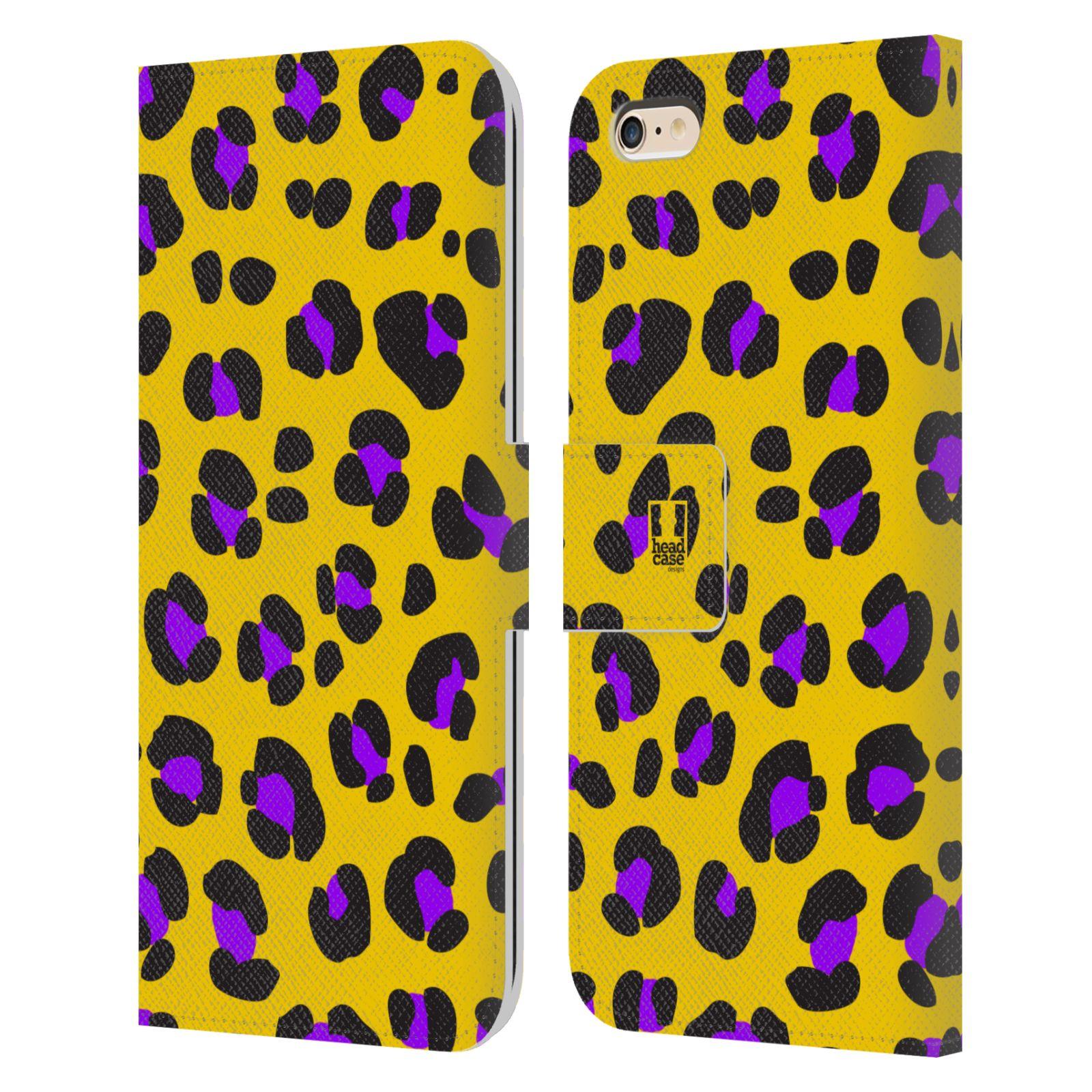 HEAD CASE Flipové pouzdro pro mobil Apple Iphone 6 PLUS / 6S PLUS Zvířecí barevné vzory žlutý leopard fialové skvrny