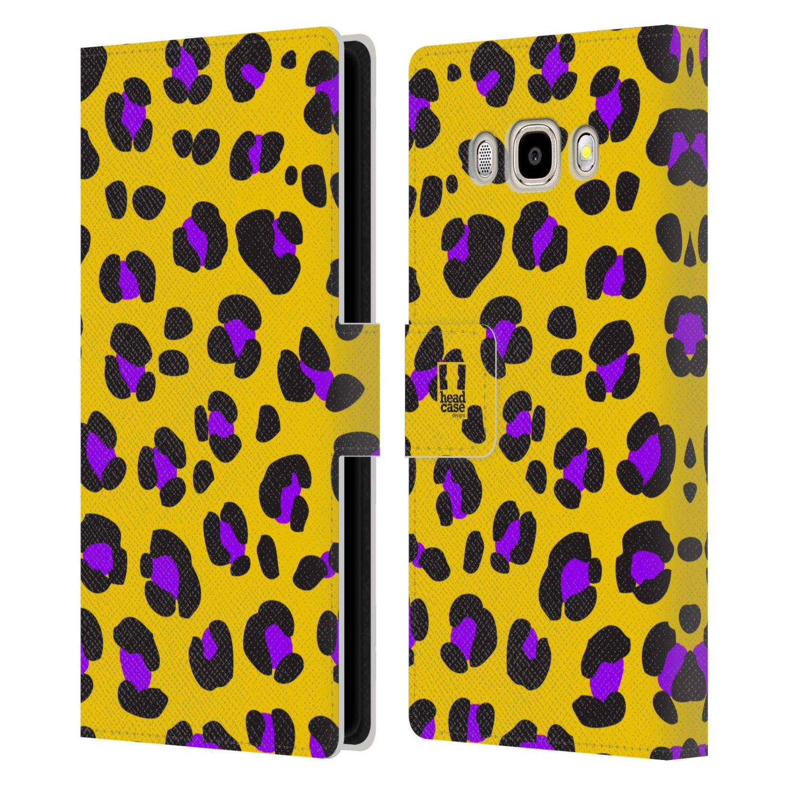 HEAD CASE Flipové pouzdro pro mobil Samsung Galaxy J5 2016 Zvířecí barevné vzory žlutý leopard fialové skvrny