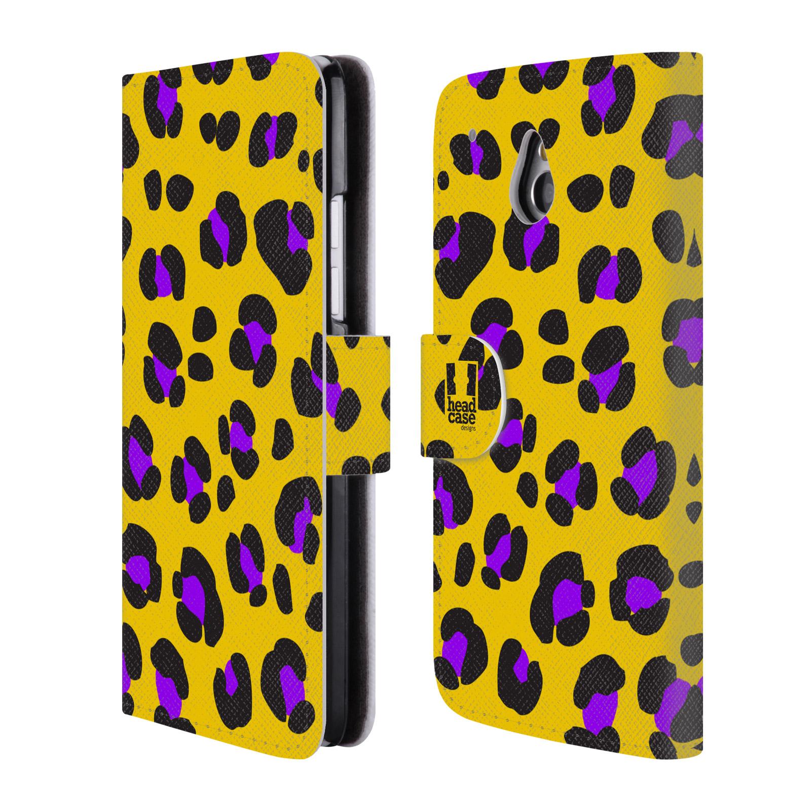 HEAD CASE Flipové pouzdro pro mobil HTC ONE MINI (M4) Zvířecí barevné vzory žlutý leopard fialové skvrny