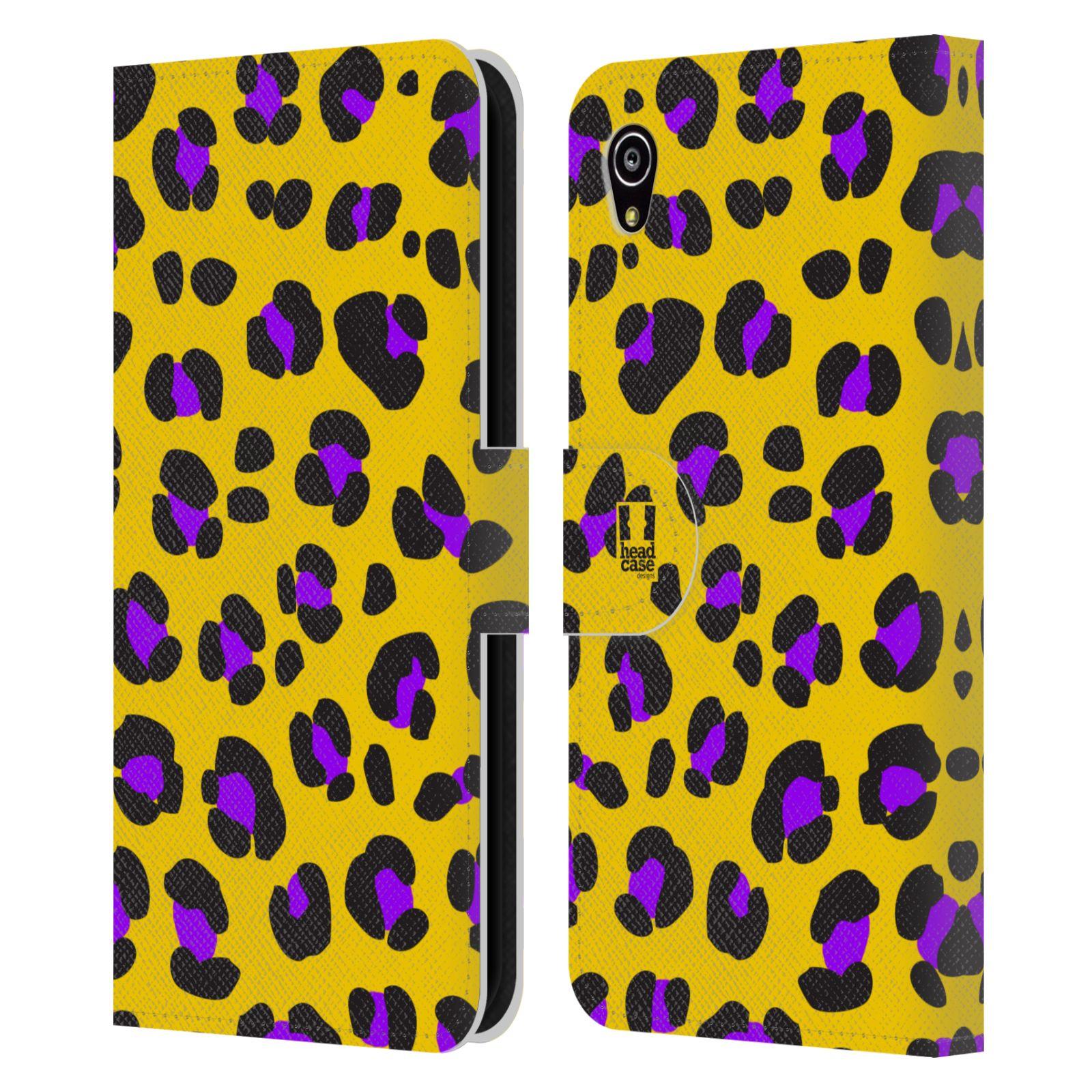 HEAD CASE Flipové pouzdro pro mobil SONY XPERIA M4 AQUA Zvířecí barevné vzory žlutý leopard fialové skvrny