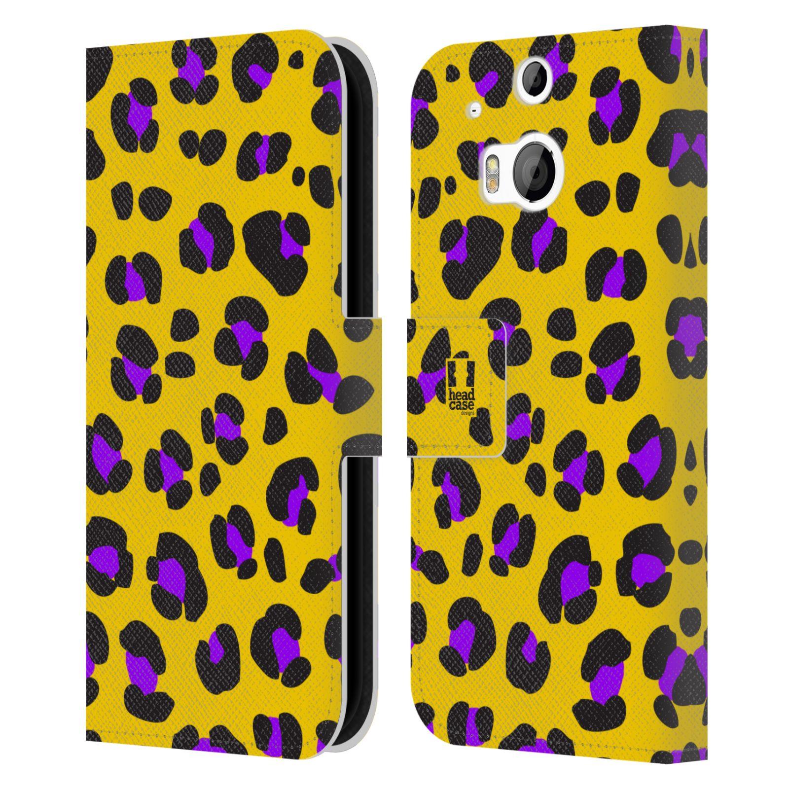 HEAD CASE Flipové pouzdro pro mobil HTC ONE (M8, M8s) Zvířecí barevné vzory žlutý leopard fialové skvrny