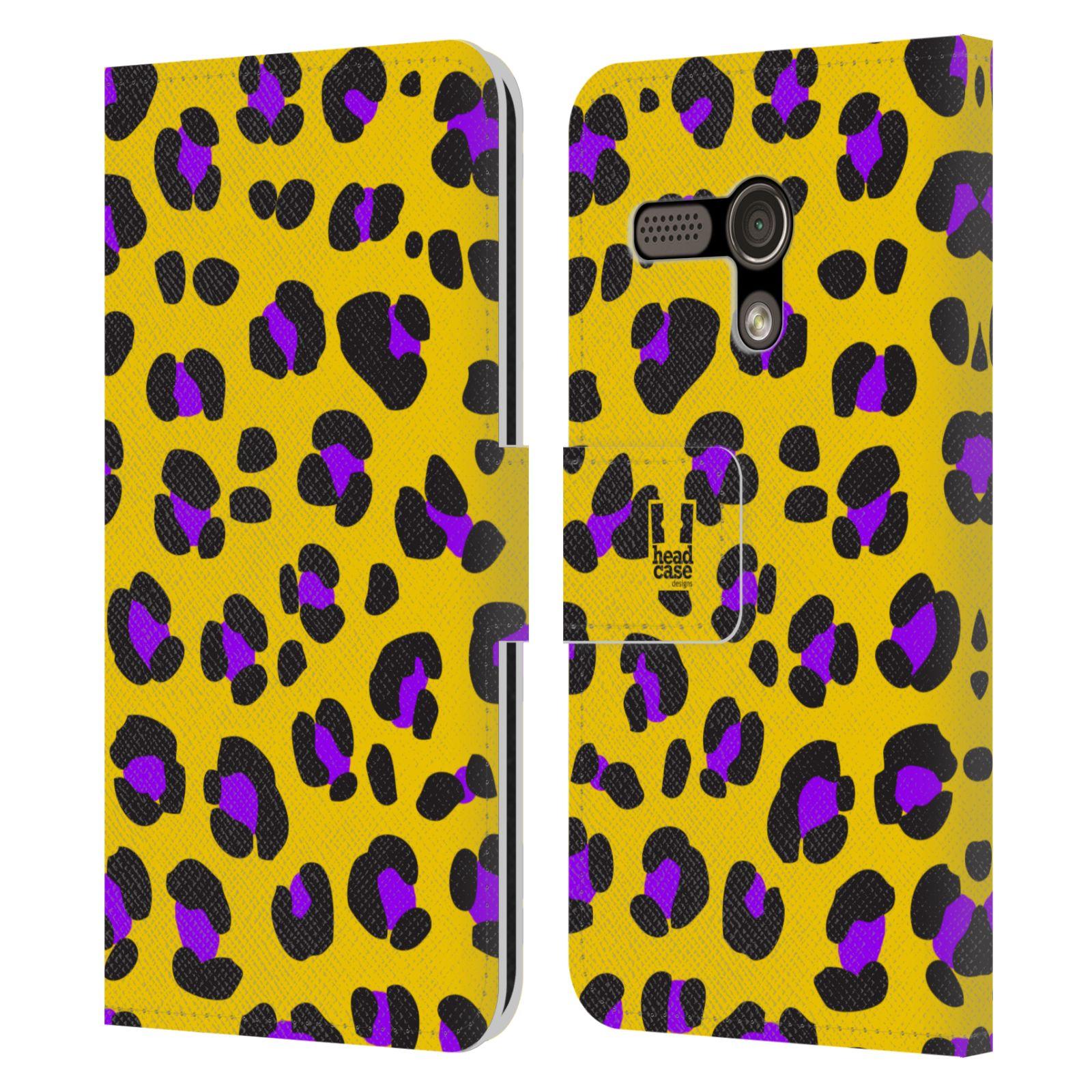 HEAD CASE Flipové pouzdro pro mobil MOTOROLA MOTO G Zvířecí barevné vzory žlutý leopard fialové skvrny