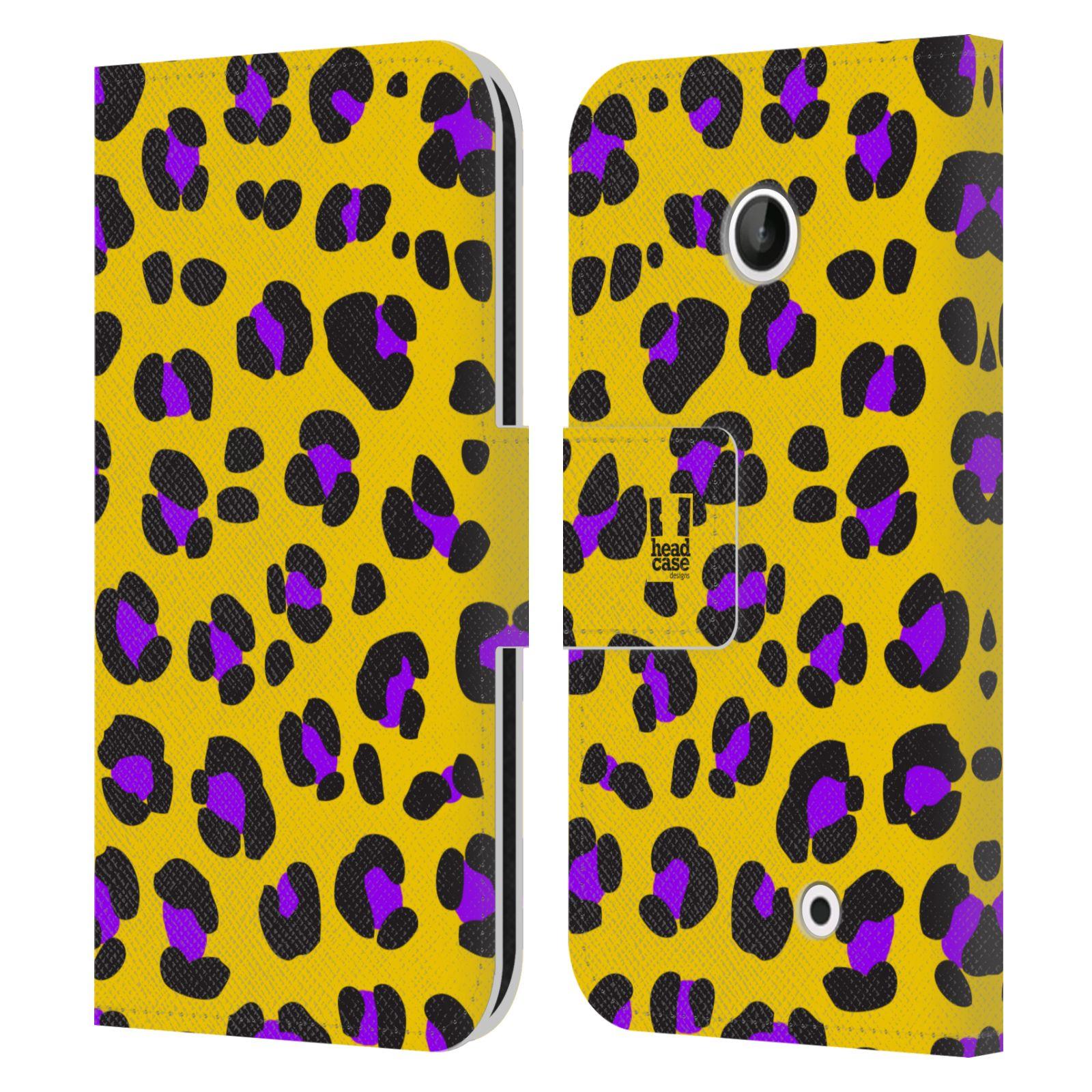 HEAD CASE Flipové pouzdro pro mobil NOKIA LUMIA 630 / LUMIA 630 DUAL Zvířecí barevné vzory žlutý leopard fialové skvrny