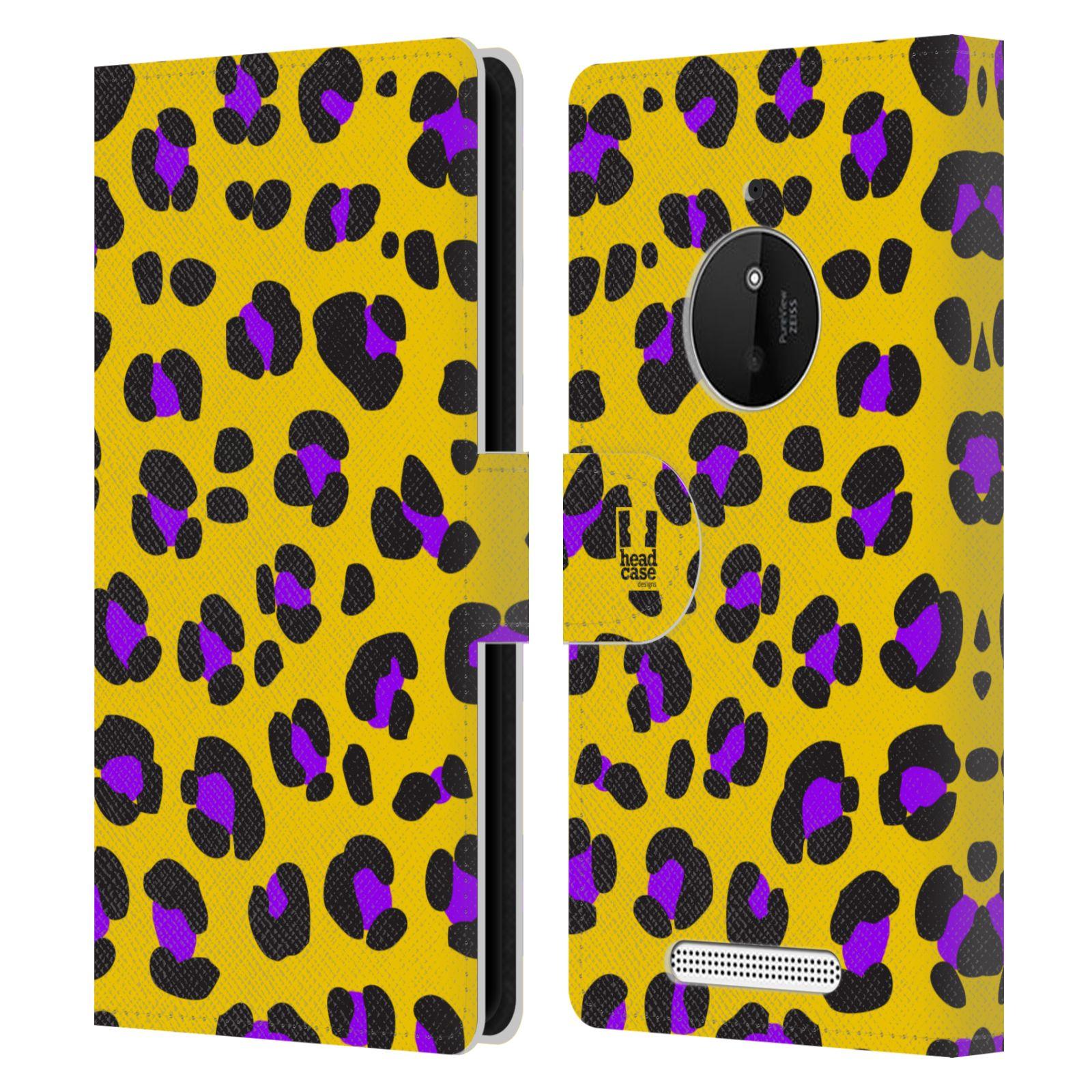HEAD CASE Flipové pouzdro pro mobil NOKIA LUMIA 830 Zvířecí barevné vzory žlutý leopard fialové skvrny